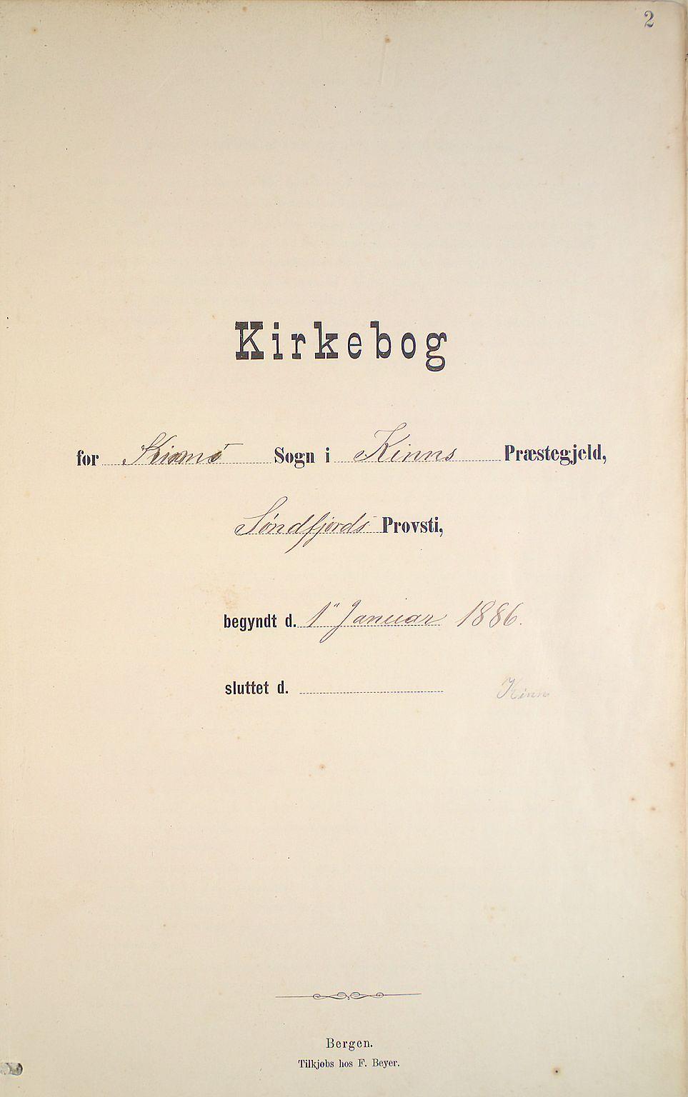 Kinn Sokneprestembete, Parish register (official) no. B 3, 1886-1936, p. 2