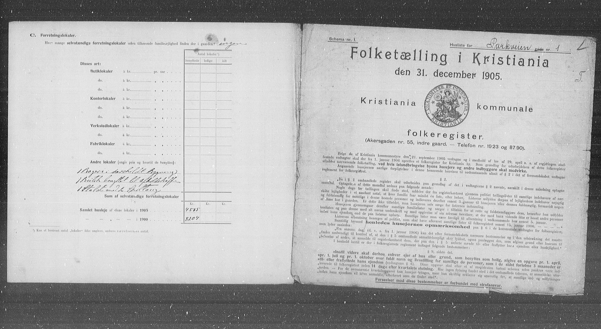 OBA, Municipal Census 1905 for Kristiania, 1905, p. 40908