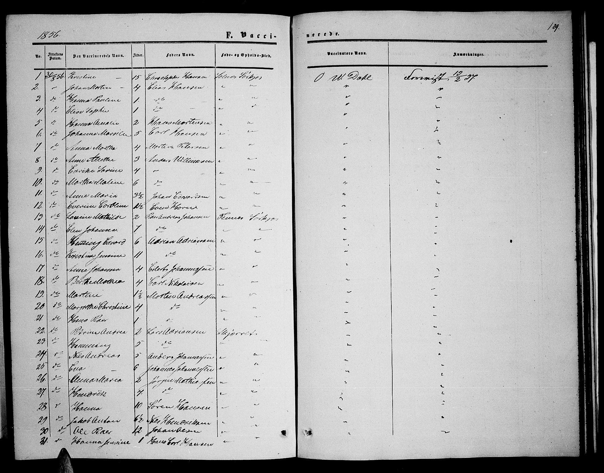 SATØ, Balsfjord sokneprestembete, Parish register (copy) no. 5, 1856-1862, p. 189