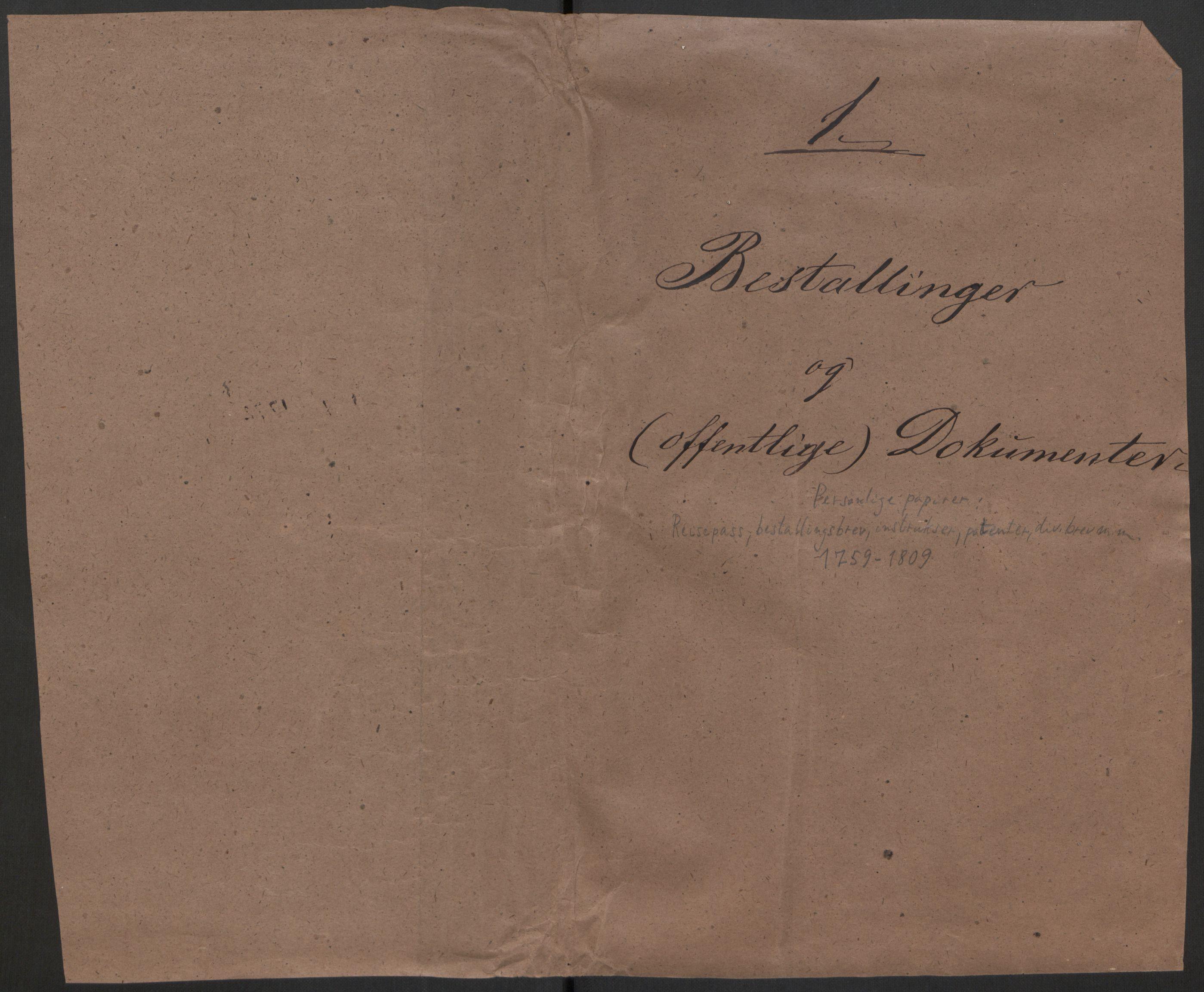 RA, Hesselberg, Hans Jacob Henning, F/L0001: --, 1759-1809, p. 1