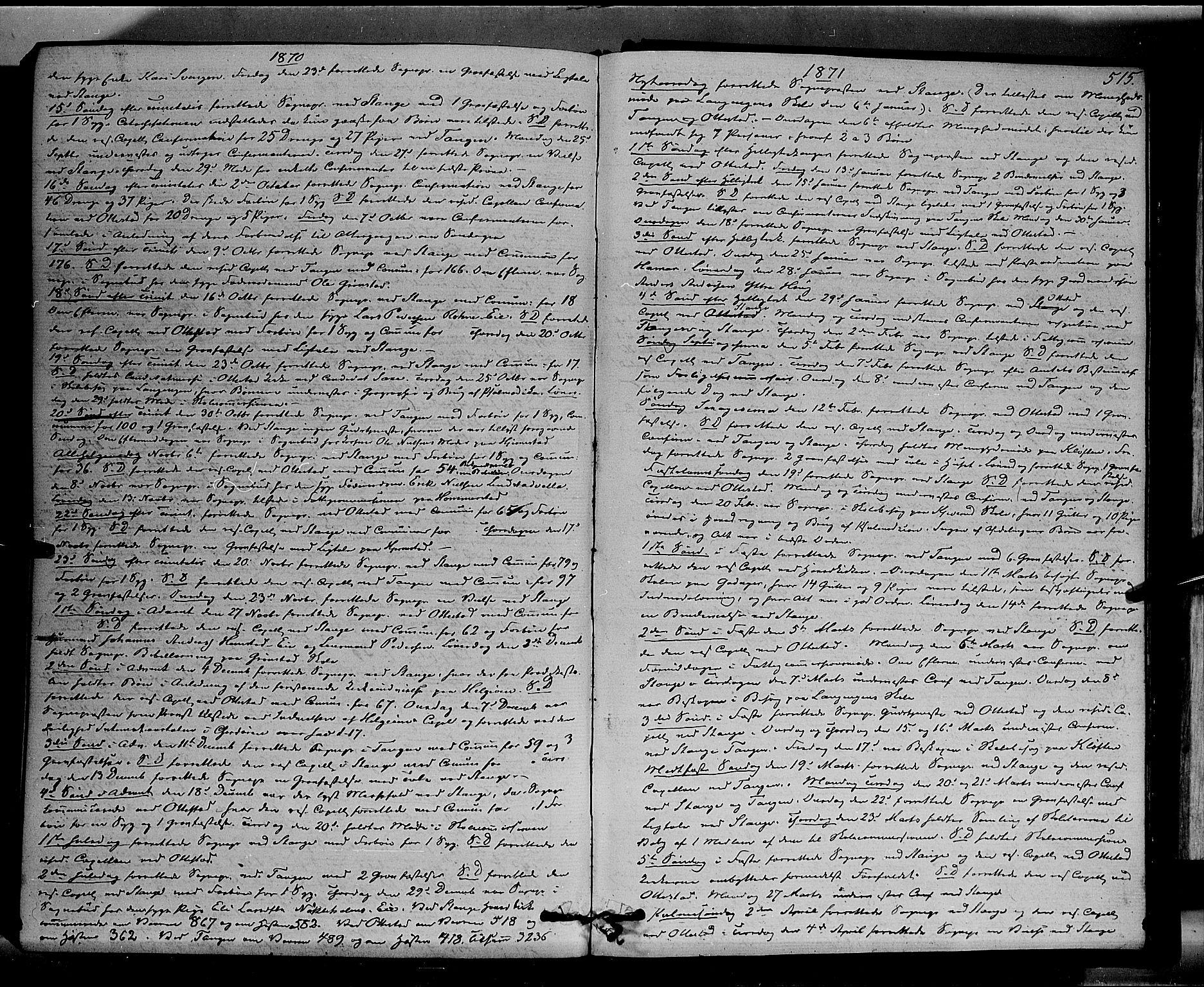 SAH, Stange prestekontor, K/L0013: Parish register (official) no. 13, 1862-1879, p. 515
