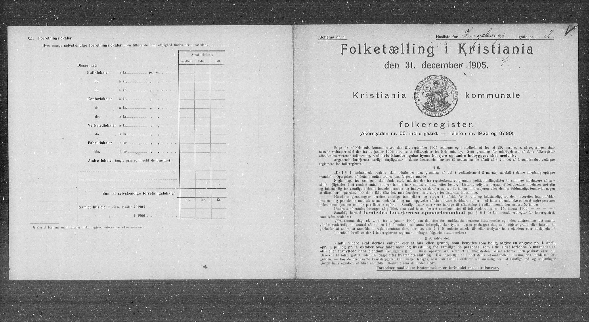 OBA, Municipal Census 1905 for Kristiania, 1905, p. 23035