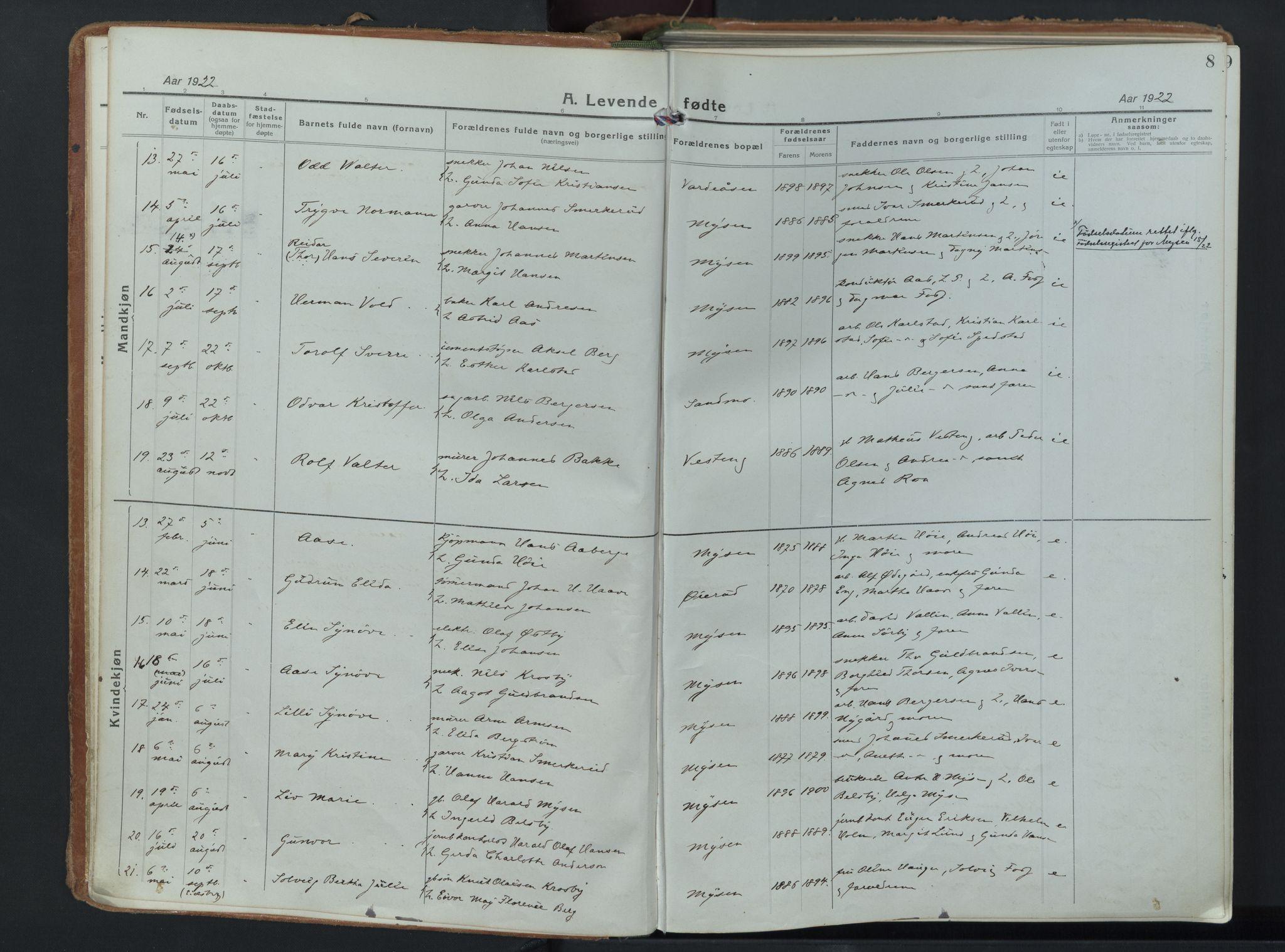SAO, Eidsberg prestekontor Kirkebøker, F/Fd/L0001: Parish register (official) no. IV 1, 1921-1948, p. 8