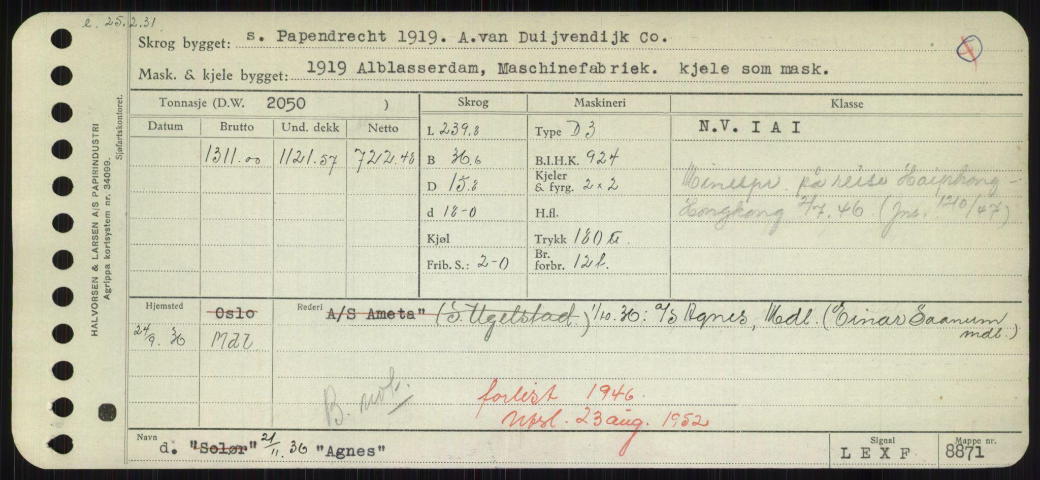 RA, Sjøfartsdirektoratet med forløpere, Skipsmålingen, H/Hd/L0001: Fartøy, A-Anv, p. 137