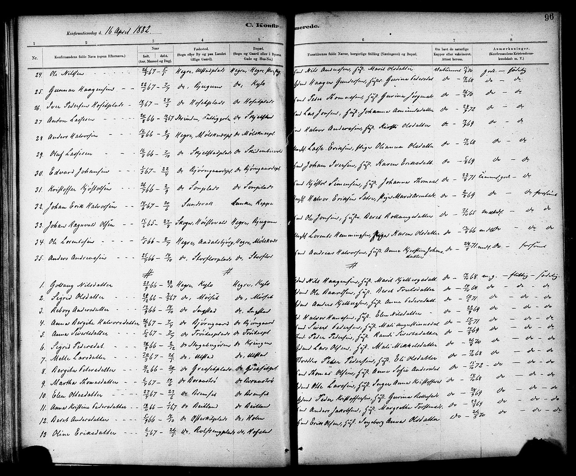 SAT, Ministerialprotokoller, klokkerbøker og fødselsregistre - Nord-Trøndelag, 703/L0030: Parish register (official) no. 703A03, 1880-1892, p. 96