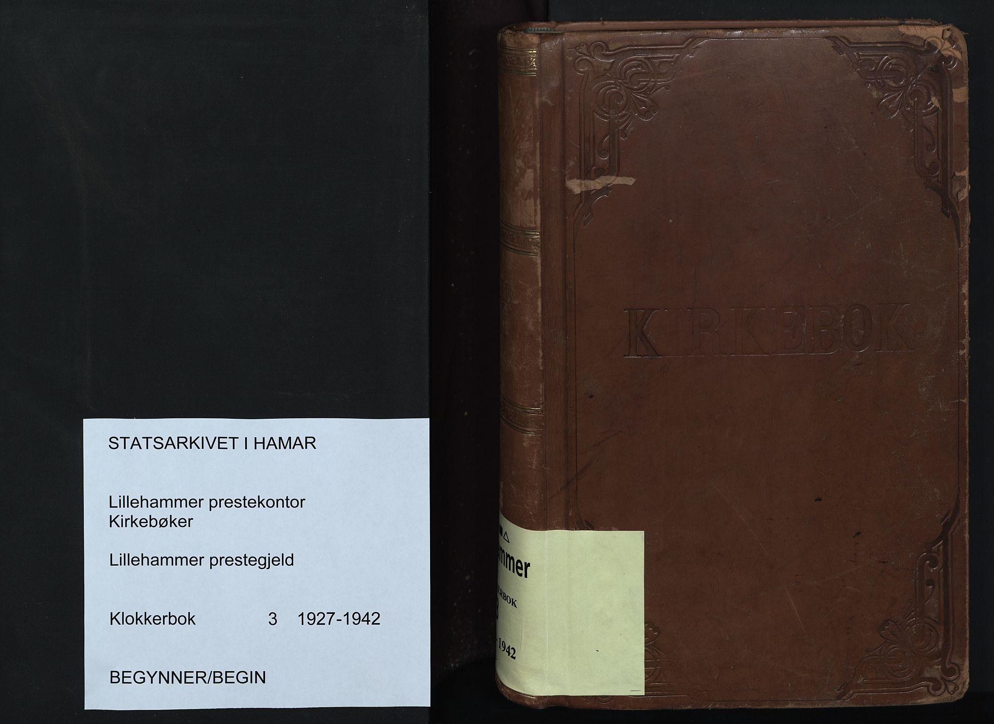 SAH, Lillehammer prestekontor, H/Ha/Hab/L0003: Parish register (copy) no. 3, 1927-1943