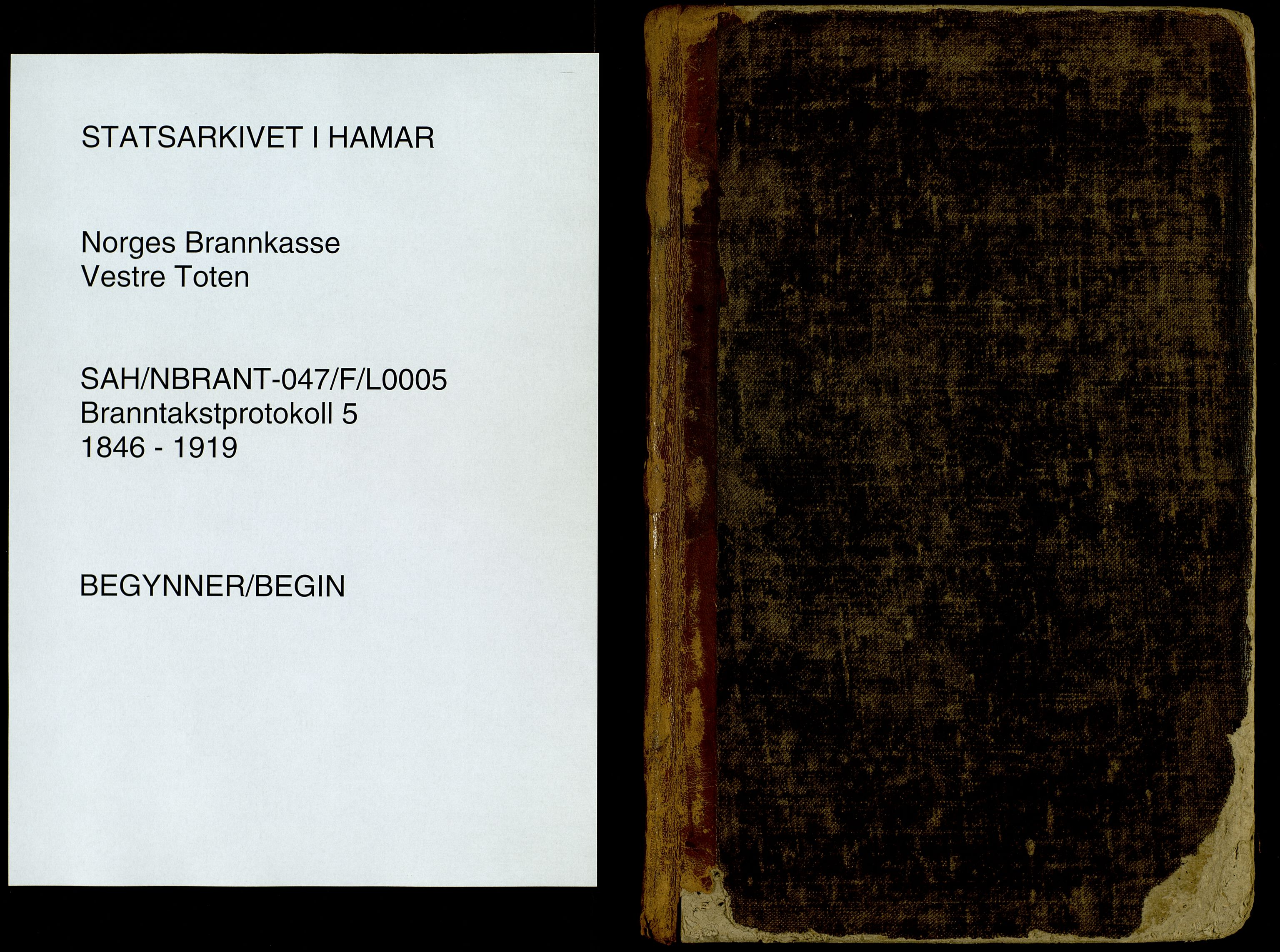 SAH, Norges Brannkasse, Vestre Toten, 1846-1919