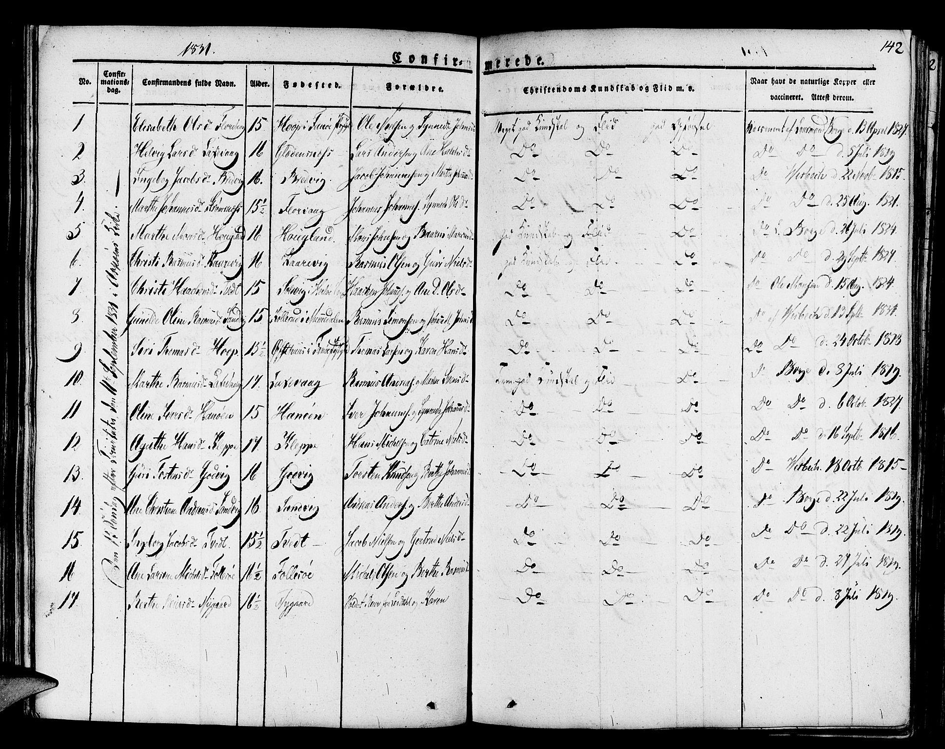 SAB, Askøy Sokneprestembete, H/Ha/Haa/Haaa/L0004: Parish register (official) no. A 4, 1825-1845, p. 142