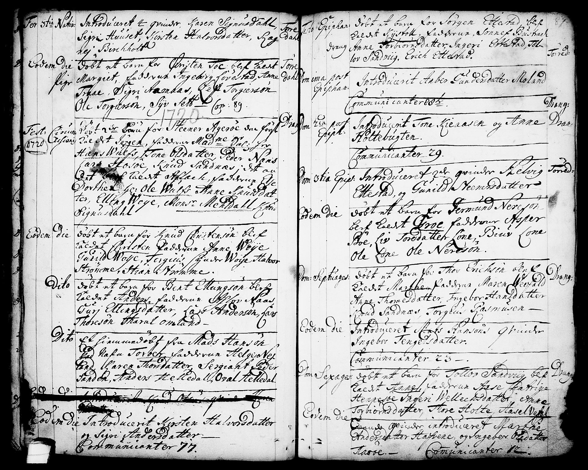 SAKO, Drangedal kirkebøker, F/Fa/L0001: Parish register (official) no. 1, 1697-1767, p. 87