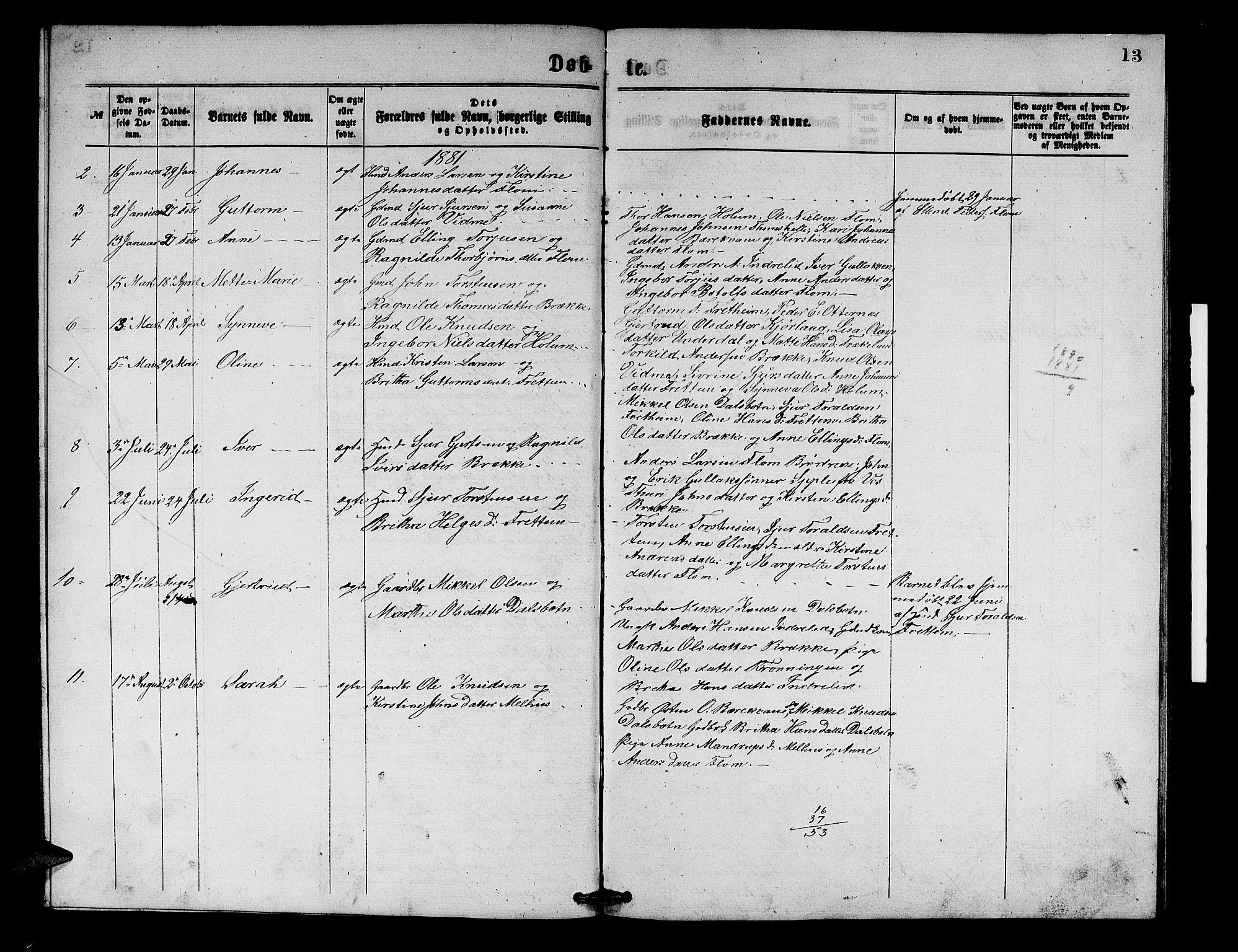 SAB, Aurland sokneprestembete, H/Hb/Hbb/L0001: Parish register (copy) no. B 1, 1868-1887, p. 13