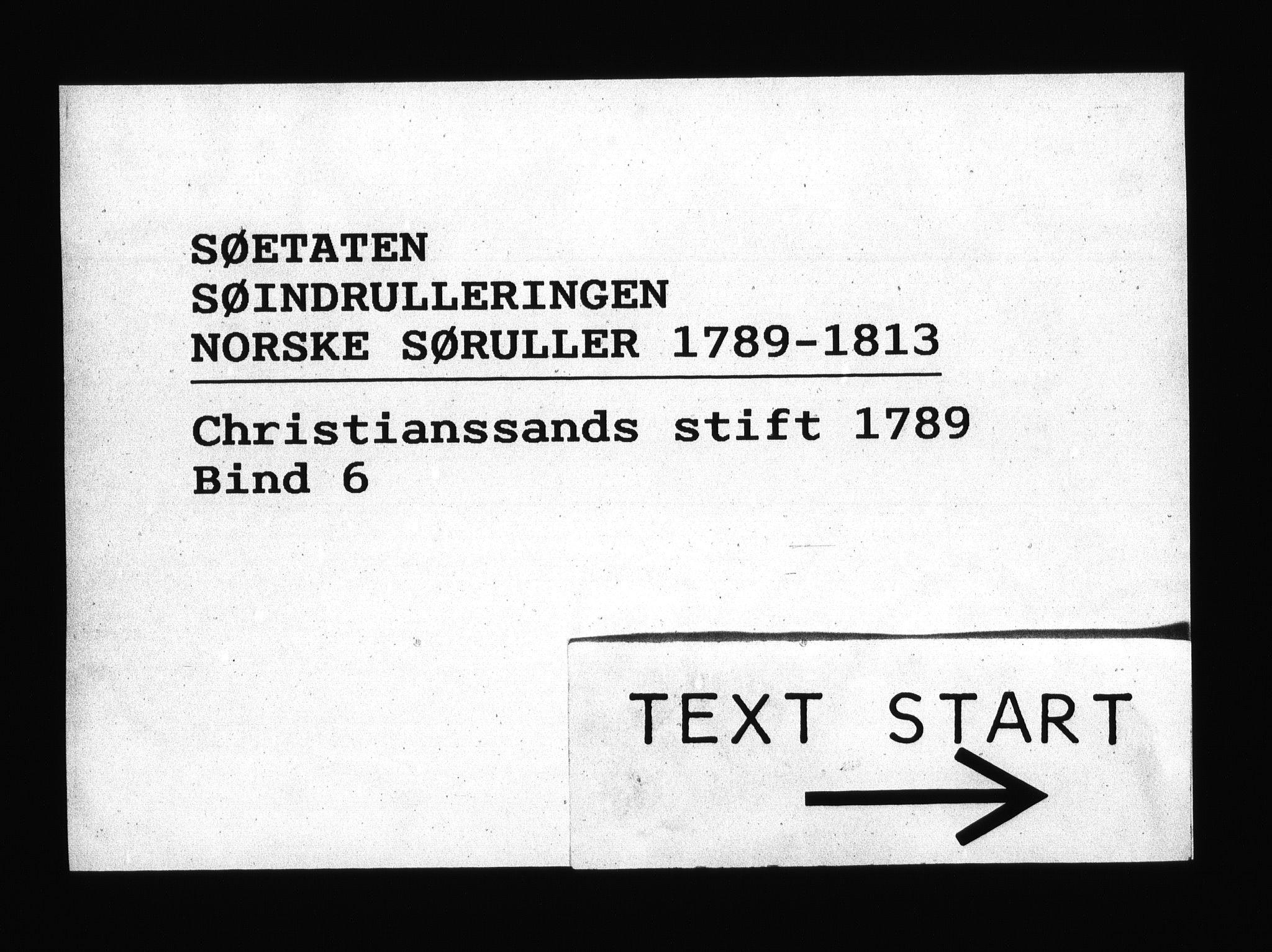 RA, Sjøetaten, F/L0013: Kristiansand stift, bind 6, 1789