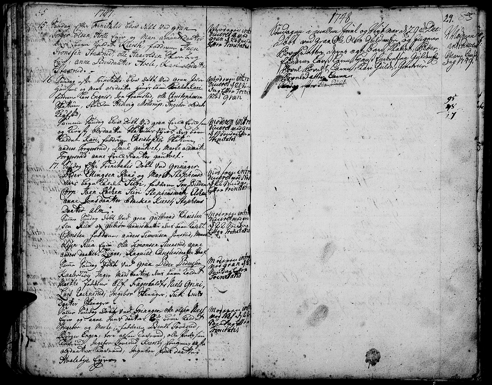 SAH, Gran prestekontor, Parish register (official) no. 3, 1745-1758, p. 29