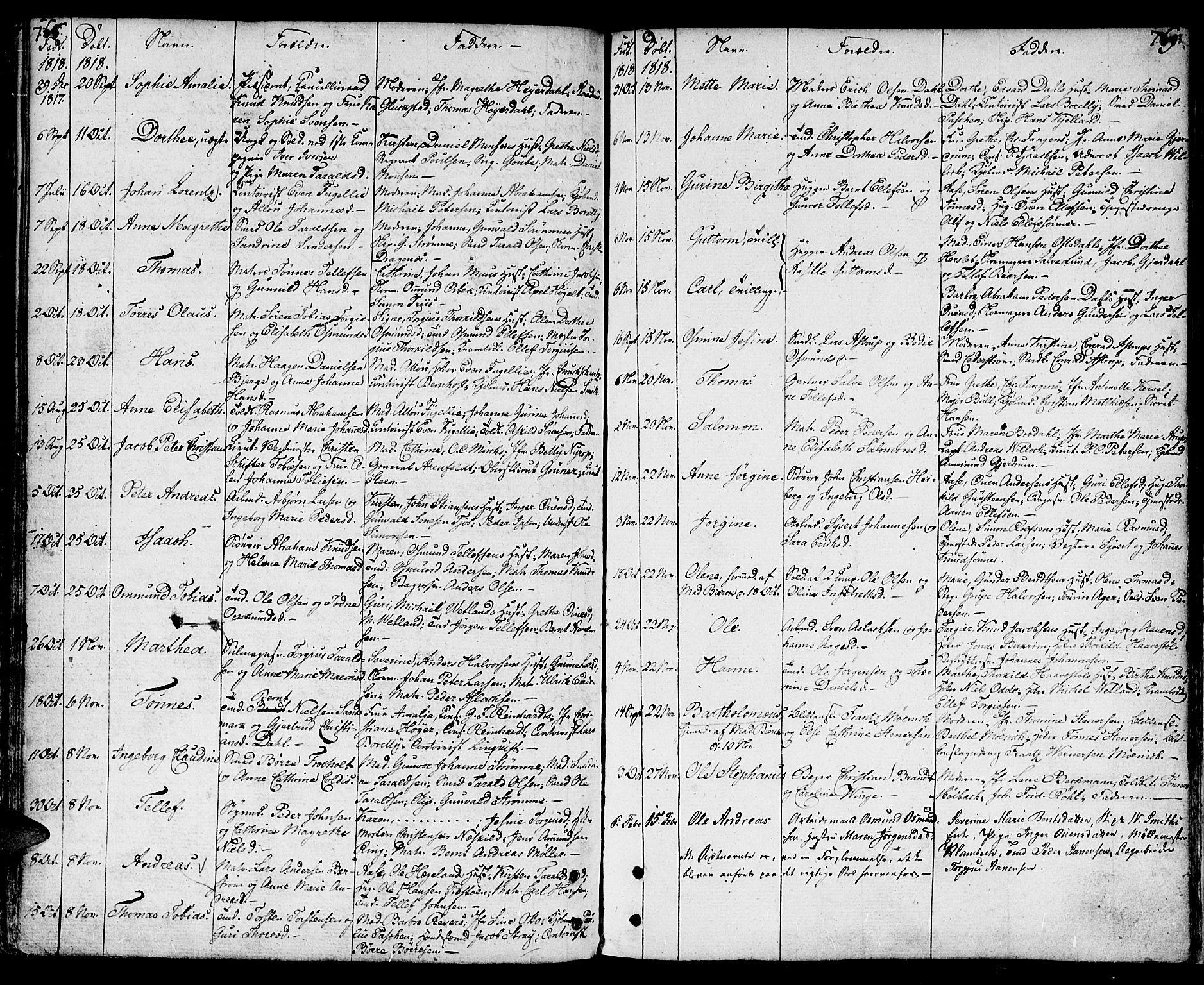 SAK, Kristiansand domprosti, F/Fa/L0003: Parish register (official) no. A 3, 1778-1818, p. 768-769