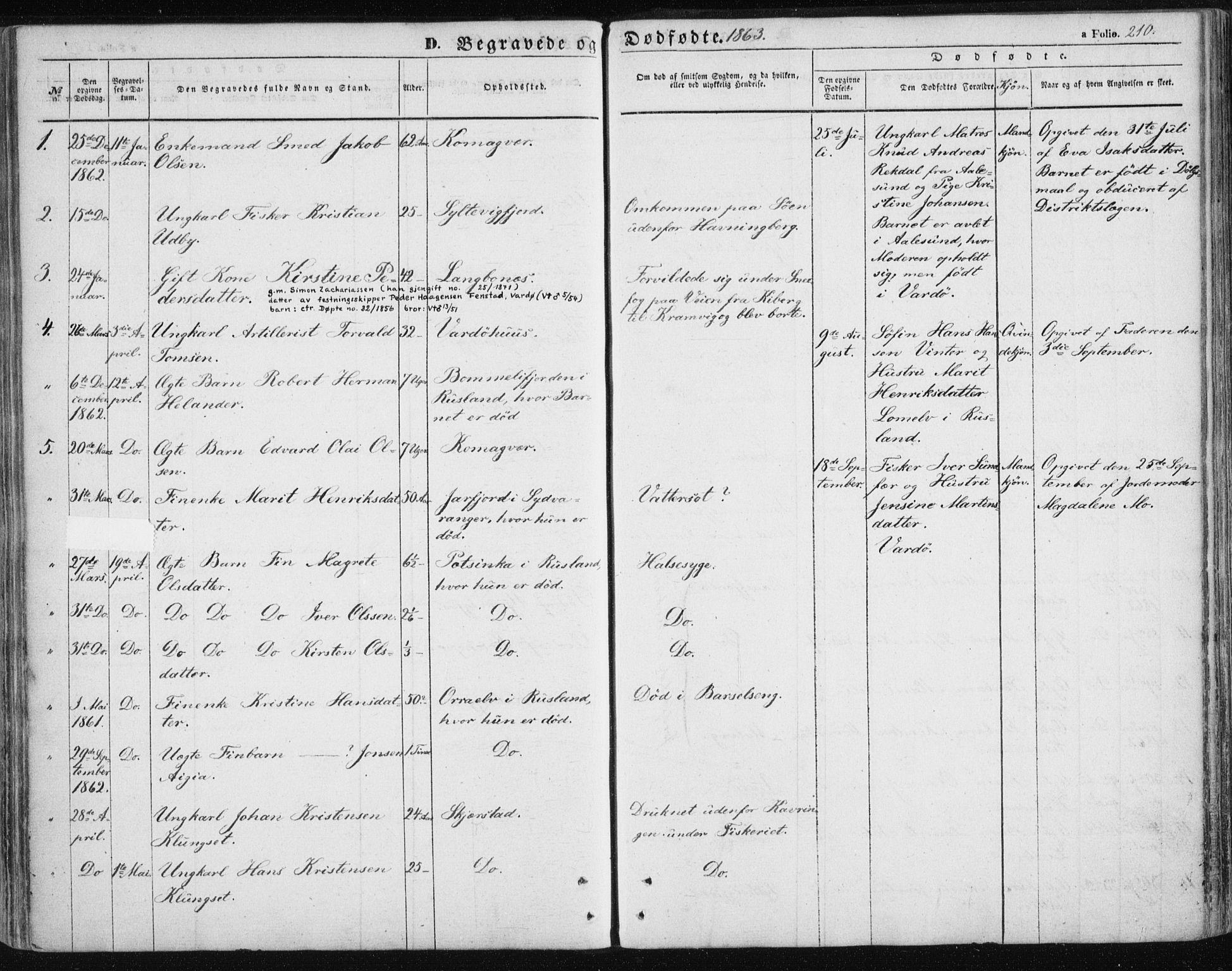 SATØ, Vardø sokneprestkontor, H/Ha/L0004kirke: Parish register (official) no. 4, 1862-1871, p. 210