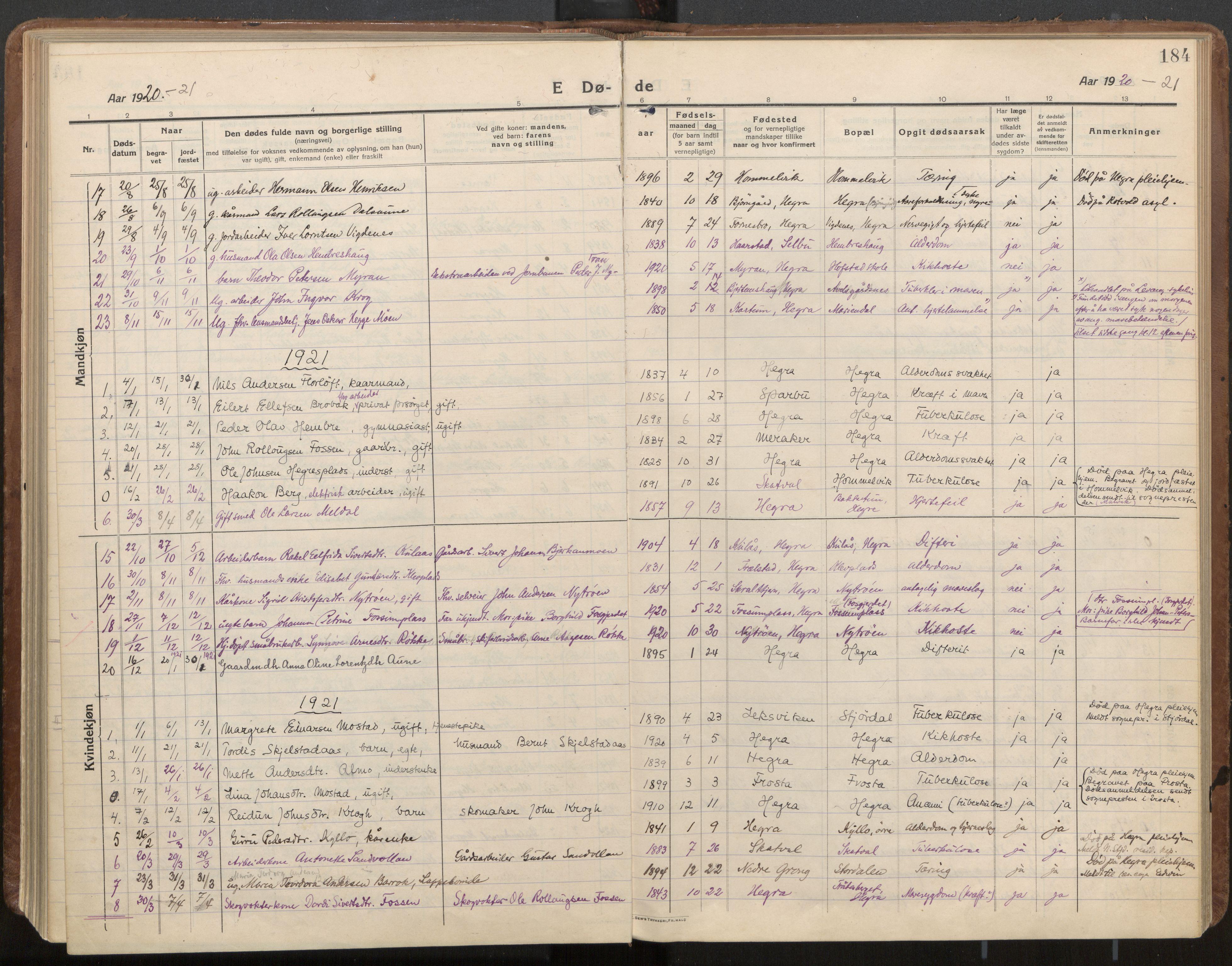 SAT, Ministerialprotokoller, klokkerbøker og fødselsregistre - Nord-Trøndelag, 703/L0037: Parish register (official) no. 703A10, 1915-1932, p. 184