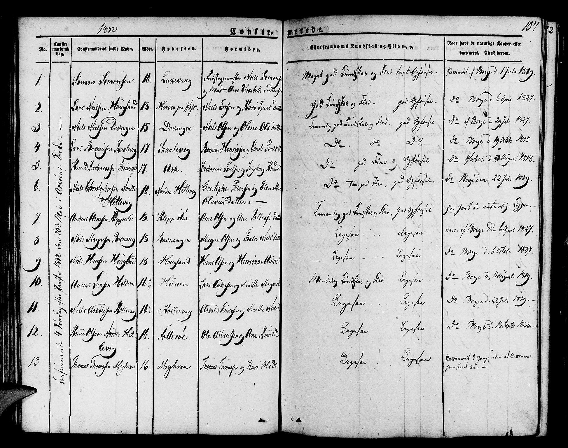SAB, Askøy Sokneprestembete, H/Ha/Haa/Haaa/L0004: Parish register (official) no. A 4, 1825-1845, p. 107