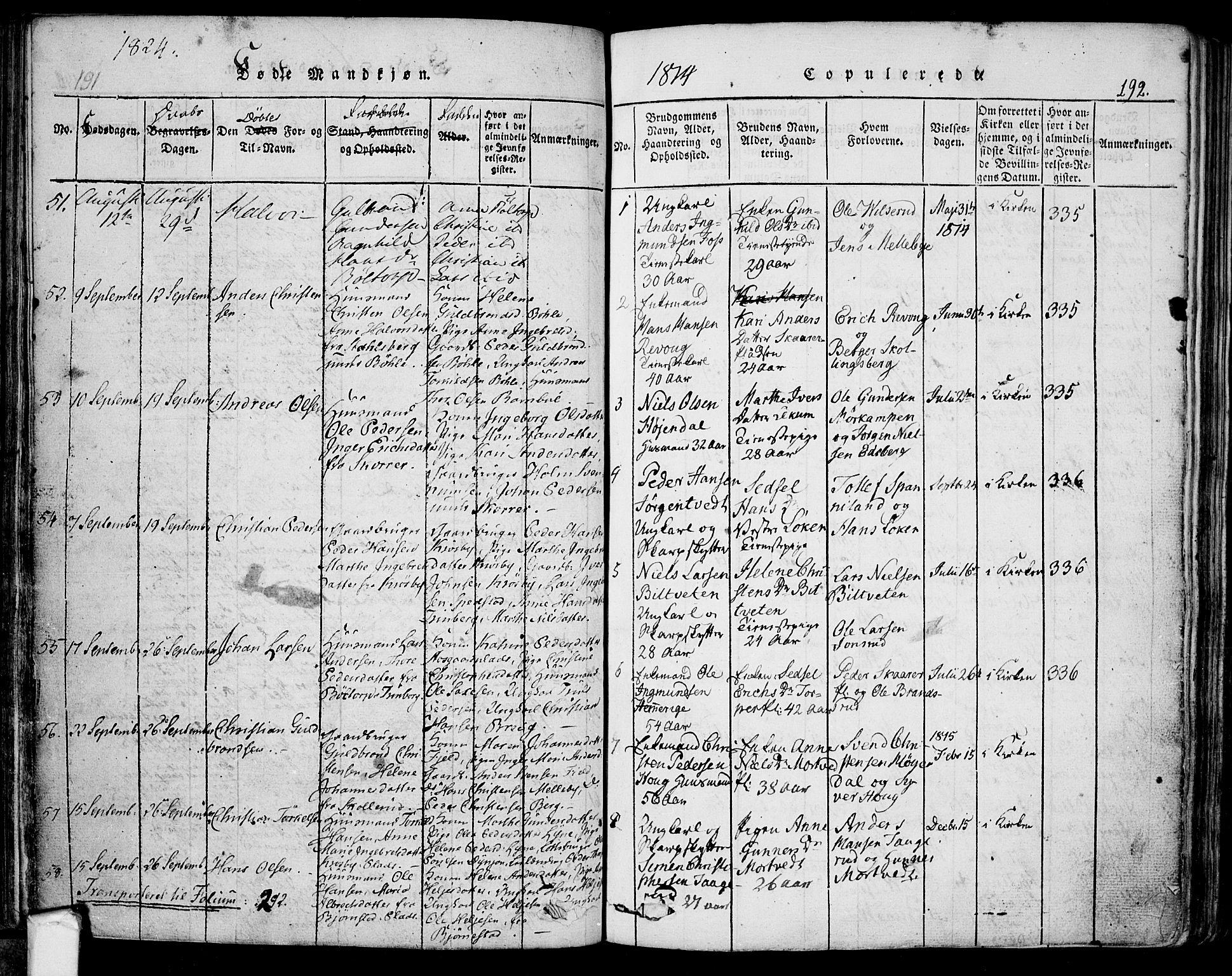 SAO, Eidsberg prestekontor Kirkebøker, F/Fa/L0007: Parish register (official) no. I 7, 1814-1832, p. 192