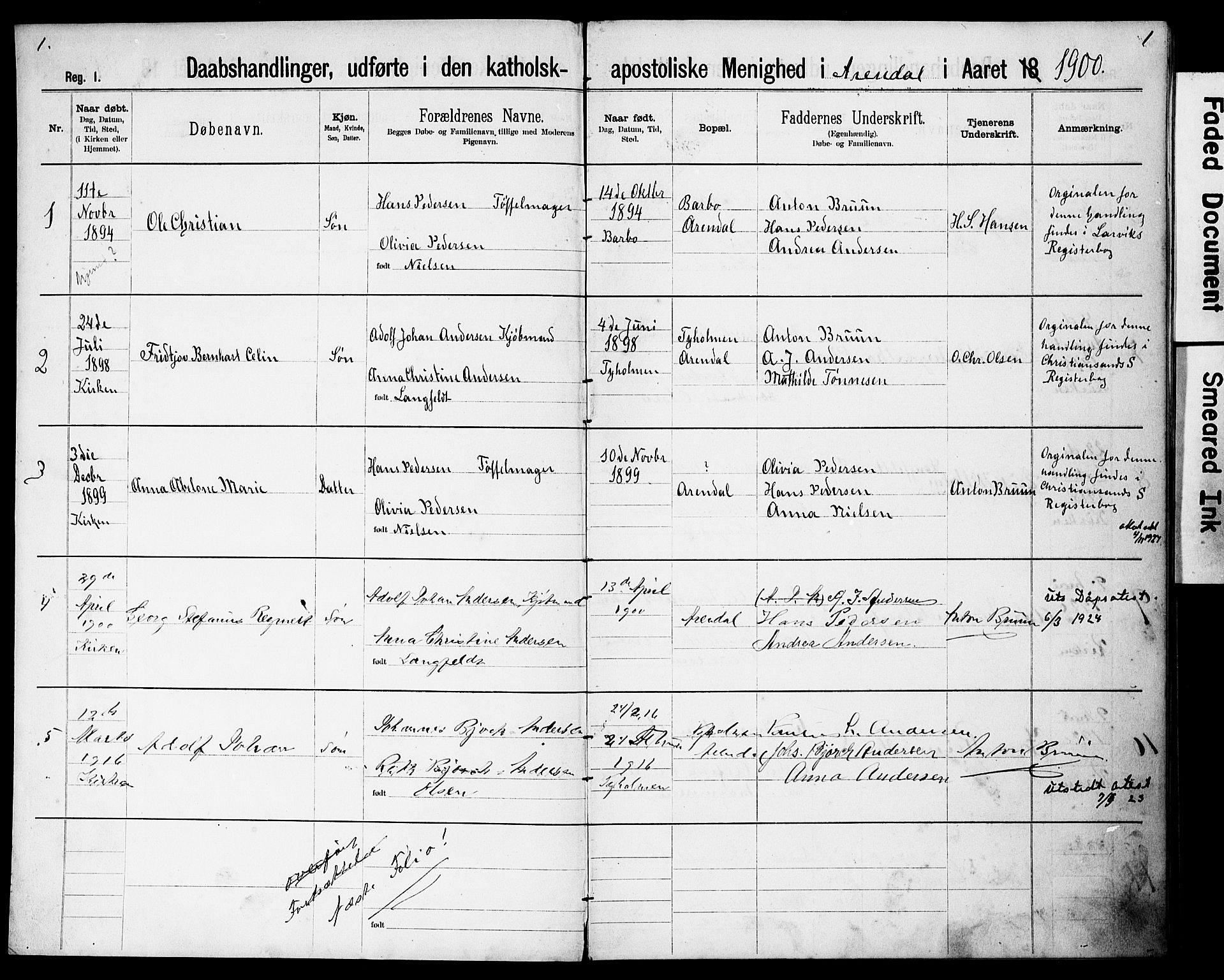 SAK, Den katolsk-apostoliske menighet, Arendal, F/Fa/L0001: Dissenter register no. F 8, 1889-1928, p. 1