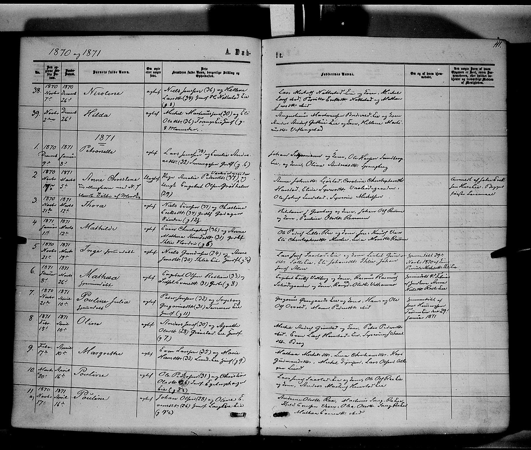 SAH, Stange prestekontor, K/L0013: Parish register (official) no. 13, 1862-1879, p. 111