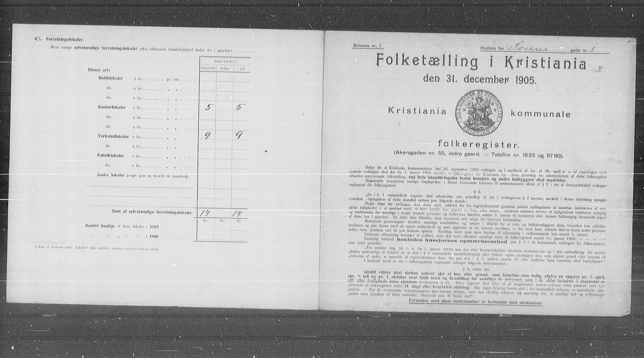 OBA, Municipal Census 1905 for Kristiania, 1905, p. 55362