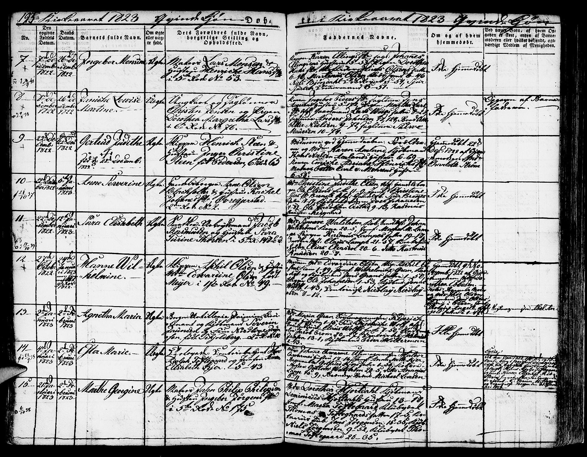 SAB, Nykirken Sokneprestembete, H/Hab: Parish register (copy) no. A 5I, 1821-1841, p. 193