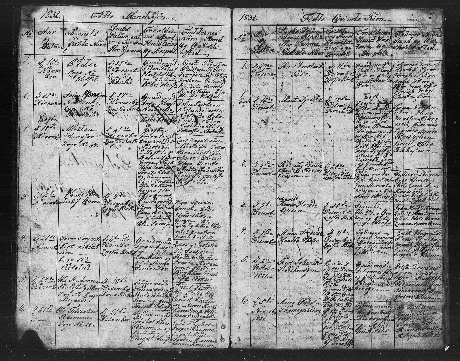 SAH, Lesja prestekontor, Parish register (copy) no. 2, 1832-1850, p. 2-3