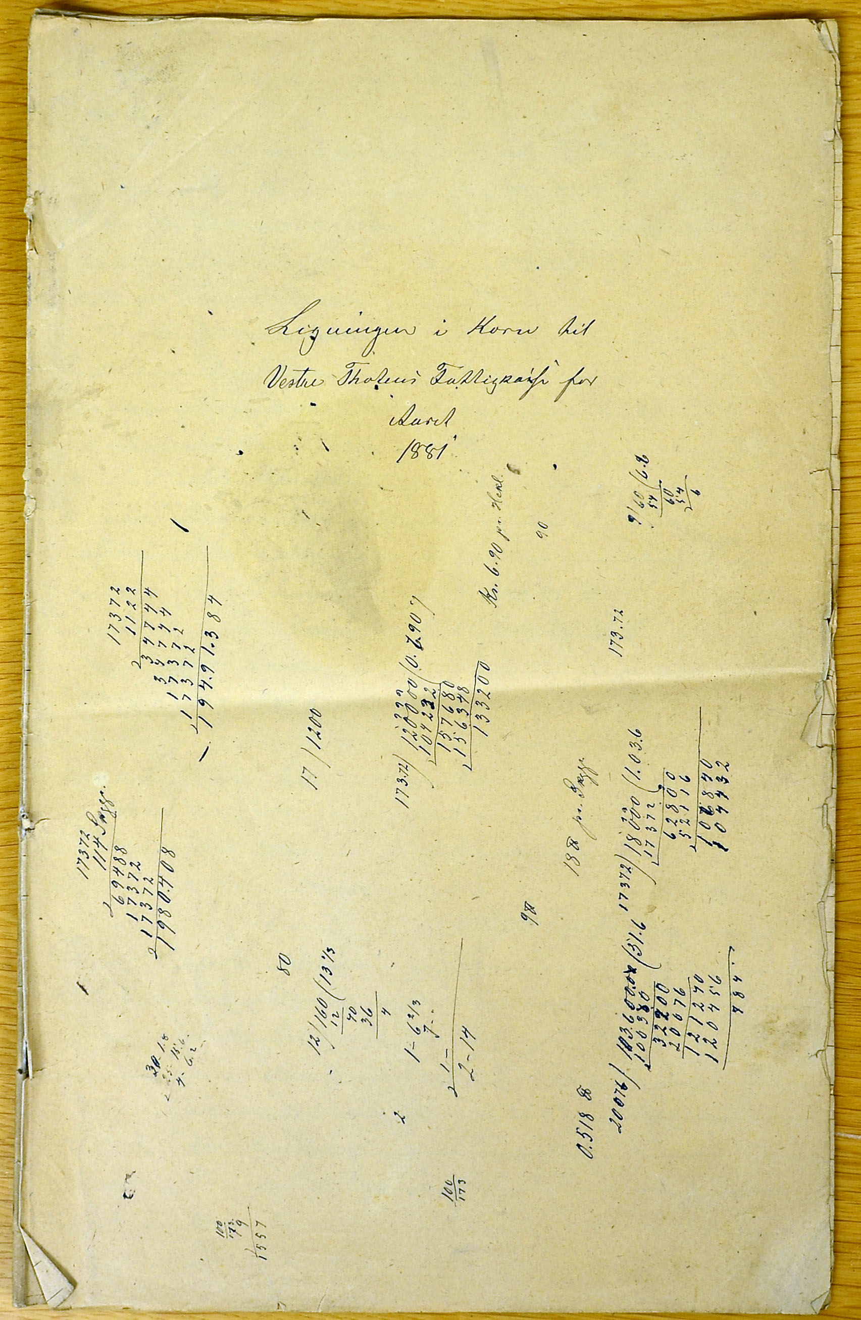KVT, Vestre Toten kommunearkiv*, -: Ligningen i korn til Vestre Totens fattigkasse, 1881
