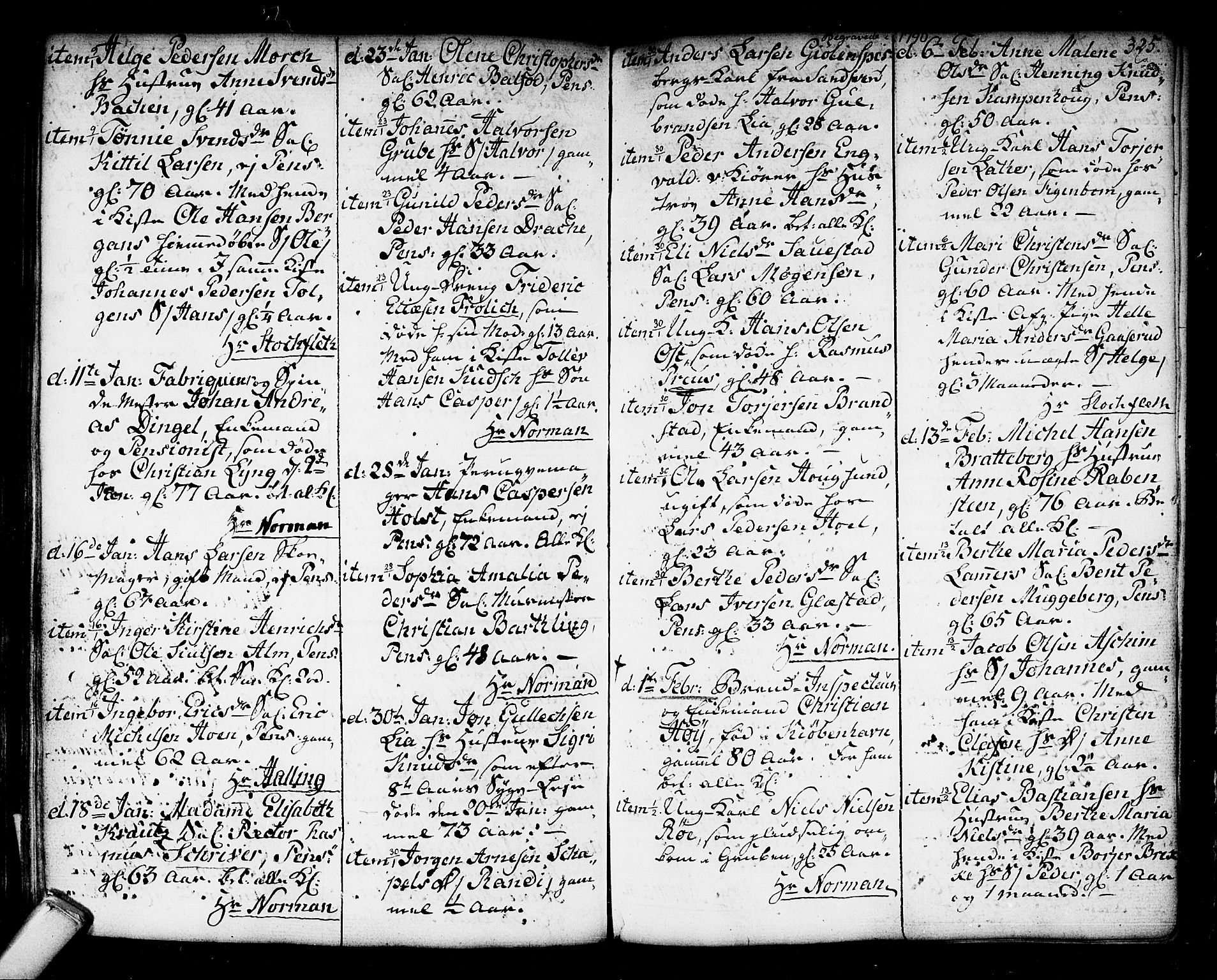 SAKO, Kongsberg kirkebøker, F/Fa/L0006: Parish register (official) no. I 6, 1783-1797, p. 325