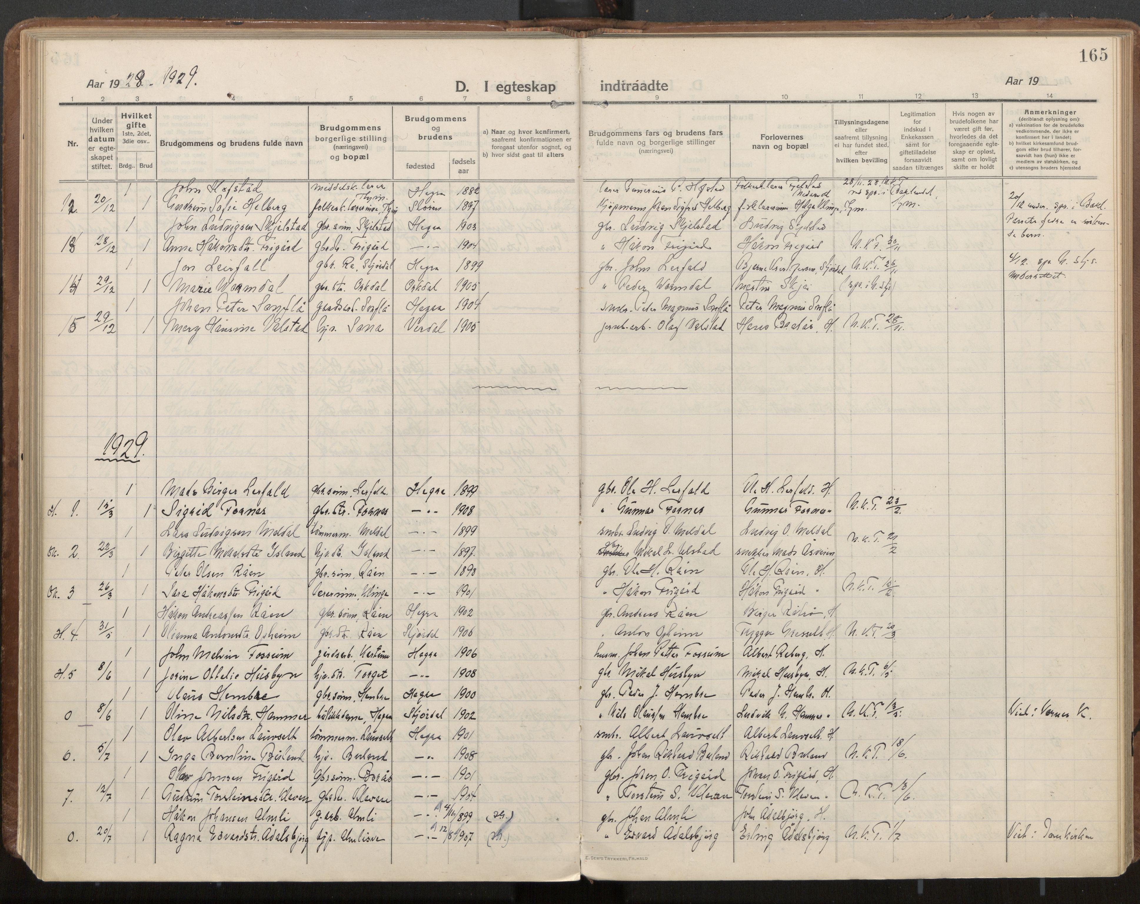 SAT, Ministerialprotokoller, klokkerbøker og fødselsregistre - Nord-Trøndelag, 703/L0037: Parish register (official) no. 703A10, 1915-1932, p. 165