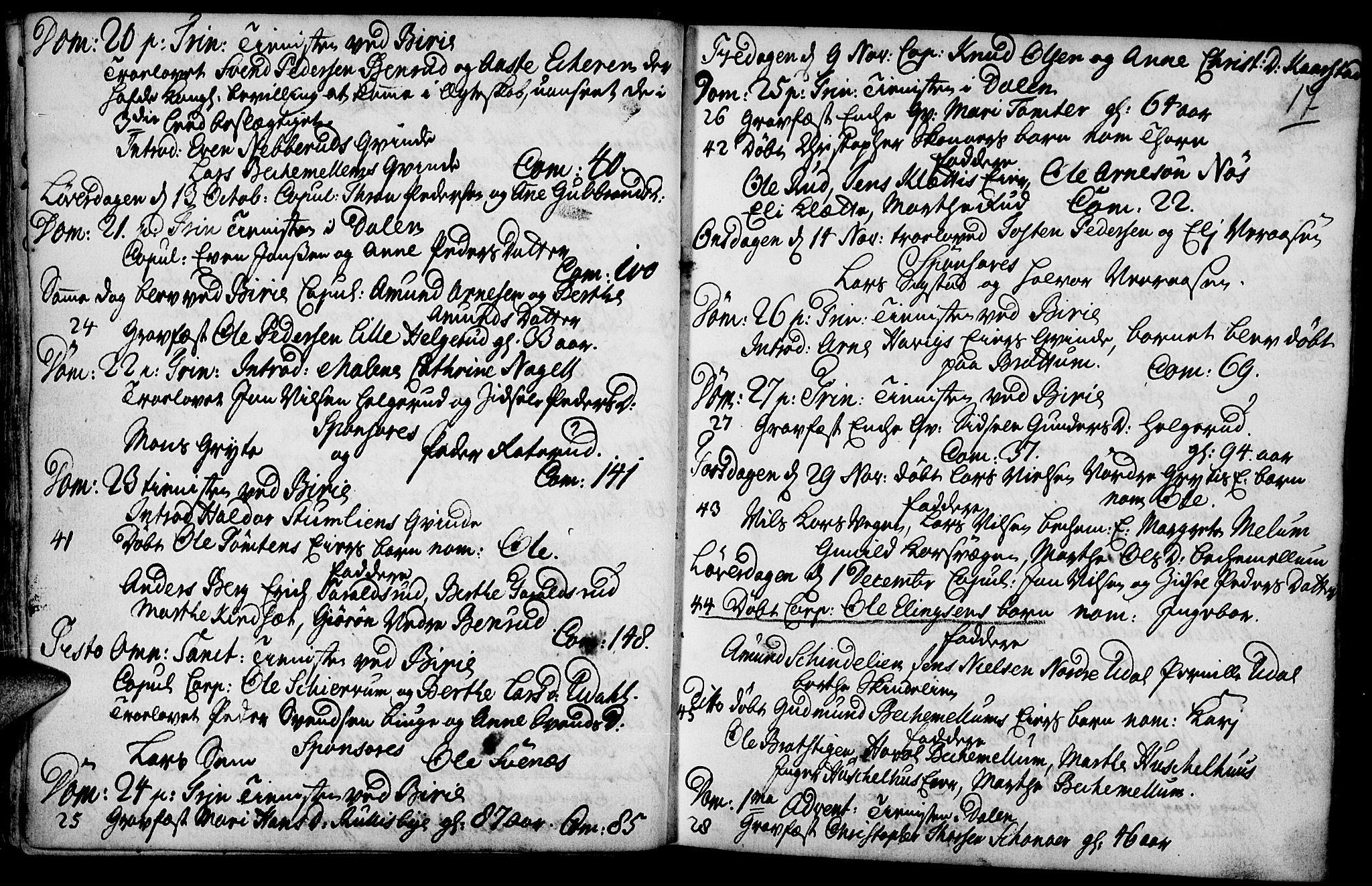 SAH, Biri prestekontor, Parish register (official) no. 1, 1730-1754, p. 17