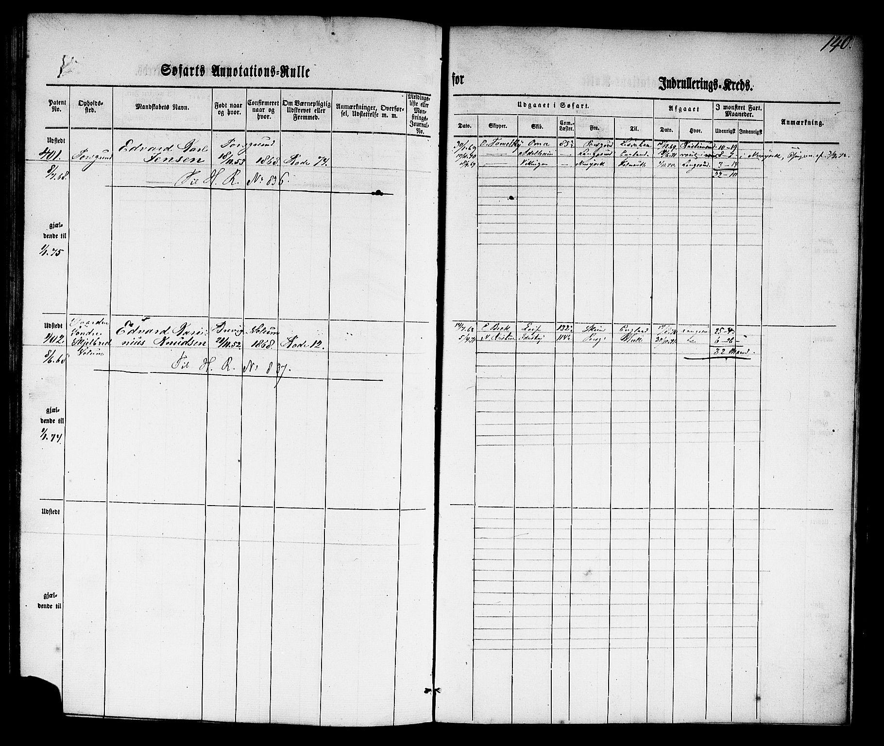 SAKO, Porsgrunn innrulleringskontor, F/Fb/L0001: Annotasjonsrulle, 1860-1868, p. 169