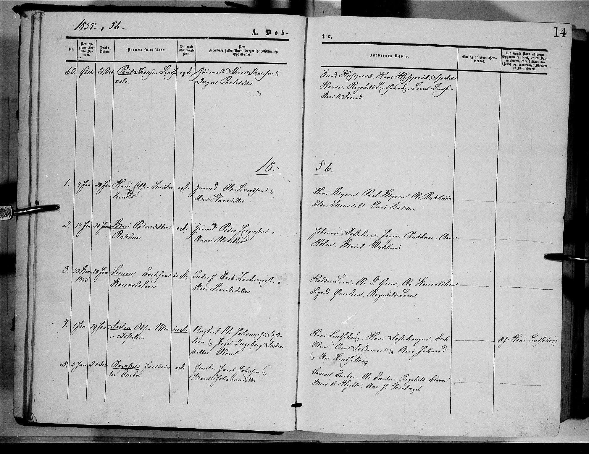 SAH, Dovre prestekontor, Parish register (official) no. 1, 1854-1878, p. 14