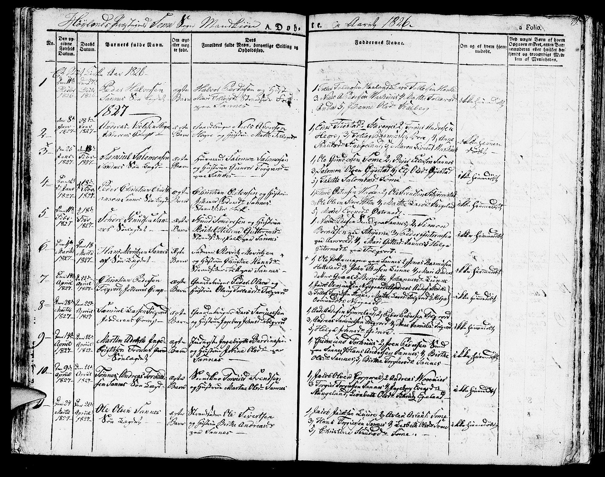 SAST, Høyland sokneprestkontor, 30BA/L0007: Parish register (official) no. A 7 /2, 1825-1841, p. 79