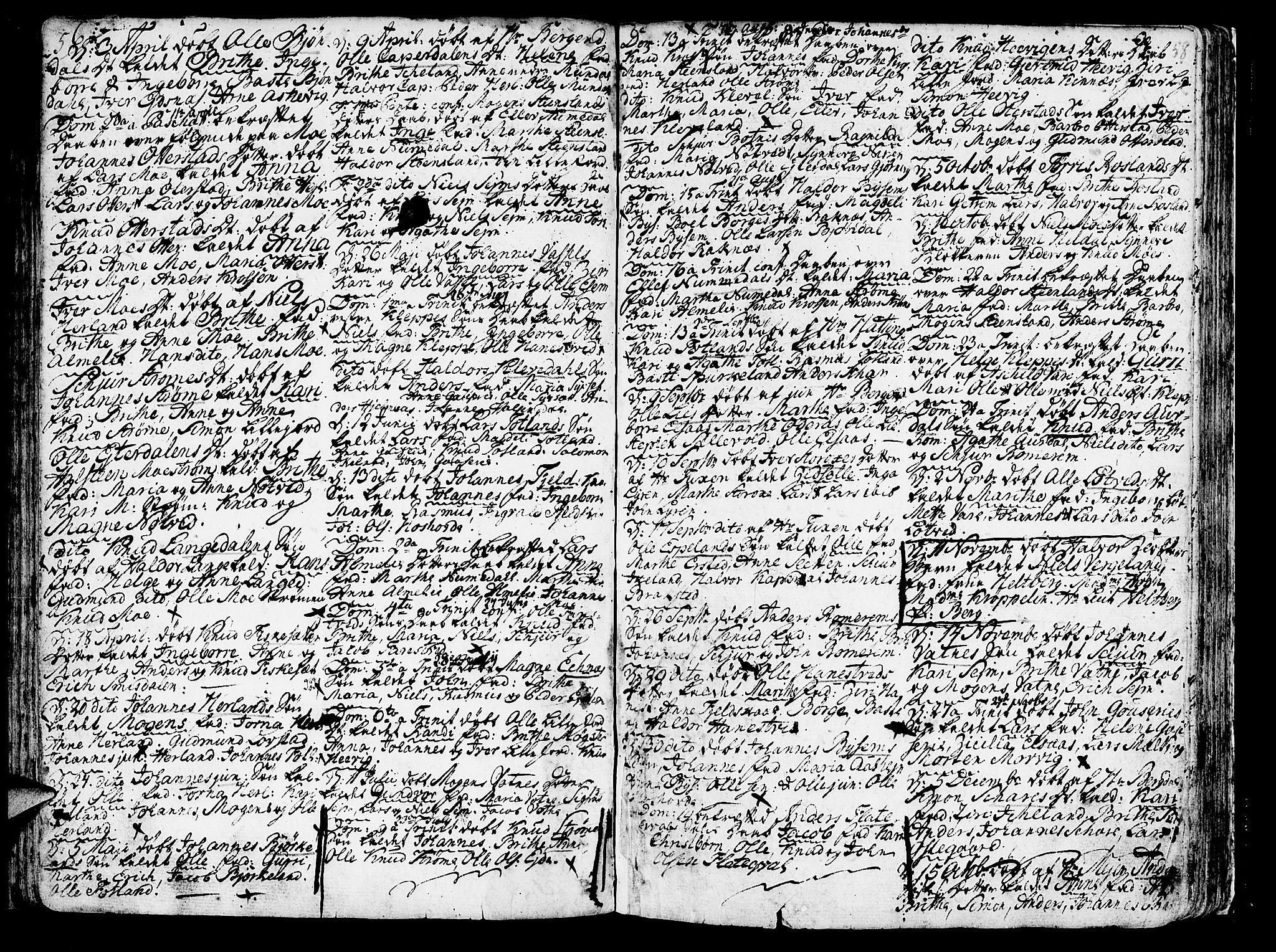 SAB, Hosanger sokneprestembete, H/Haa: Parish register (official) no. A 2 /1, 1766-1793, p. 58