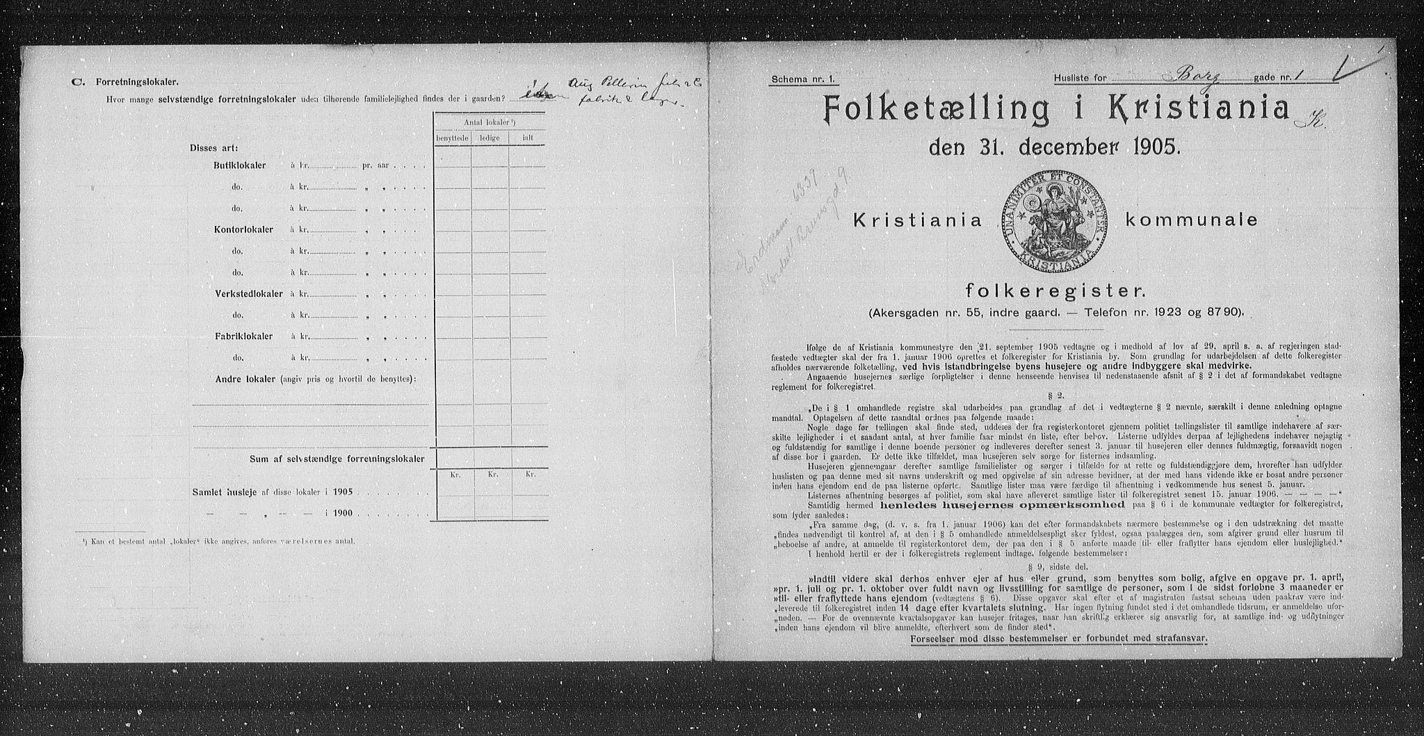 OBA, Municipal Census 1905 for Kristiania, 1905, p. 3935