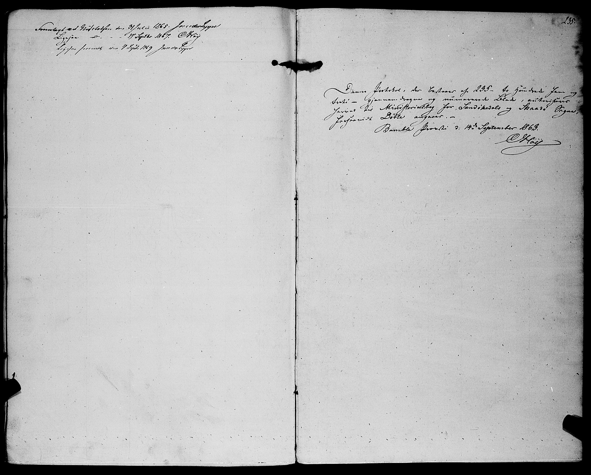SAKO, Sannidal kirkebøker, F/Fa/L0011: Parish register (official) no. 11, 1863-1873, p. 235