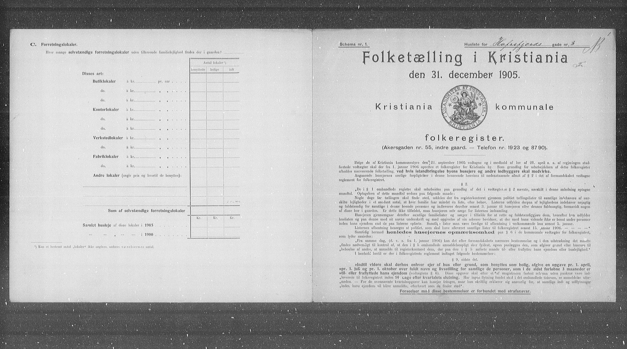 OBA, Municipal Census 1905 for Kristiania, 1905, p. 18836