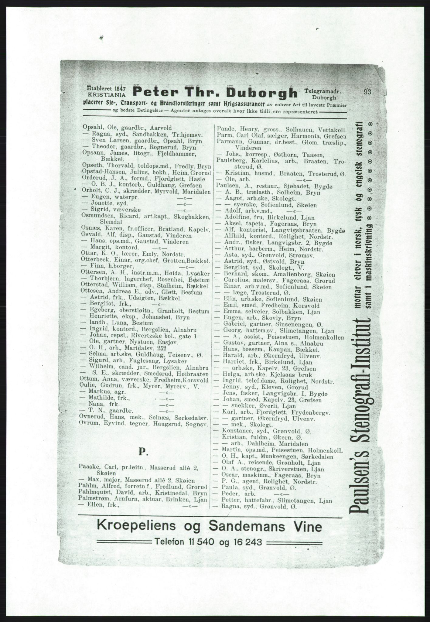 RA, Aker adressebok/adressekalender (publikasjon)*, 1916-1917, p. 93