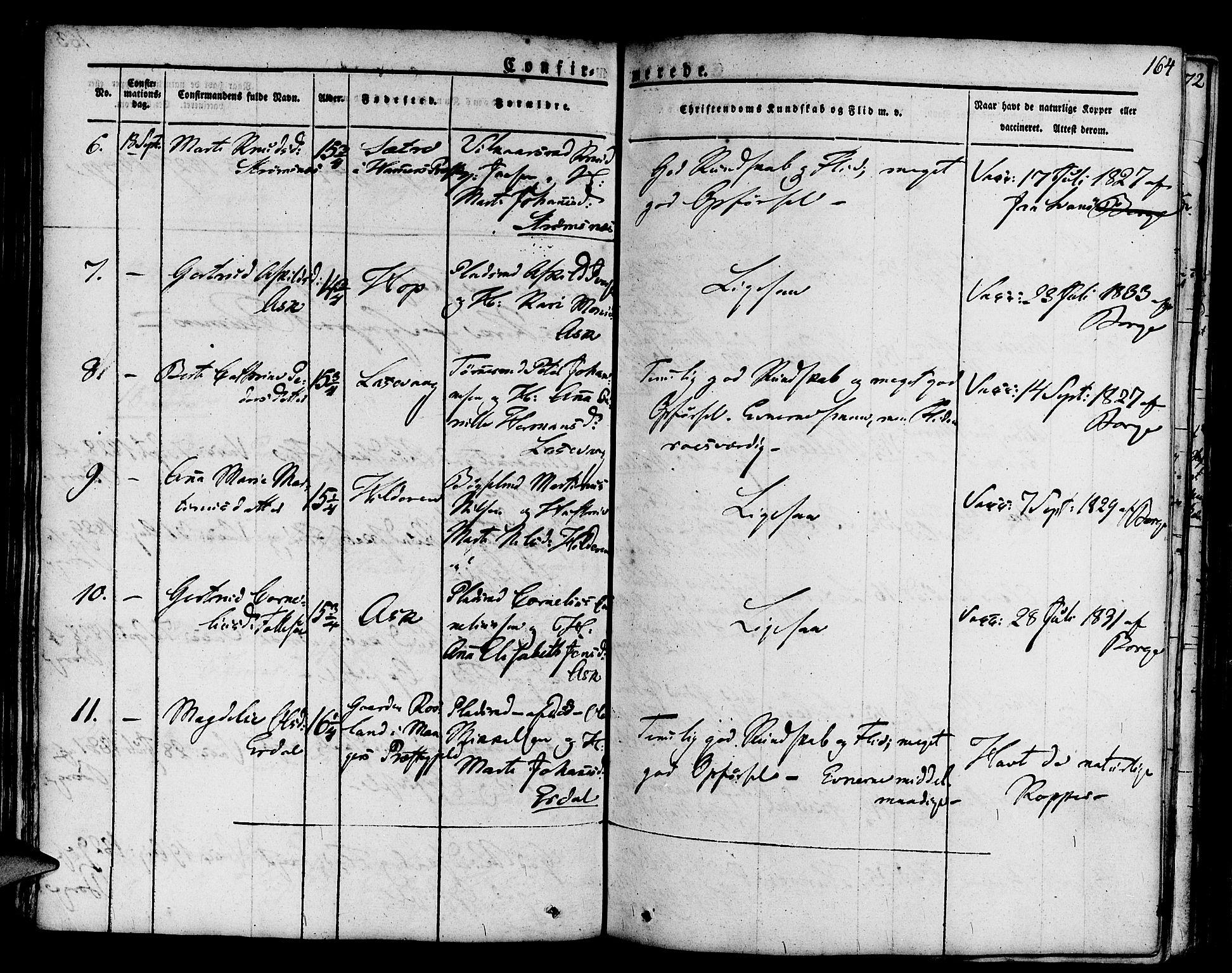 SAB, Askøy Sokneprestembete, H/Ha/Haa/Haaa/L0004: Parish register (official) no. A 4, 1825-1845, p. 164