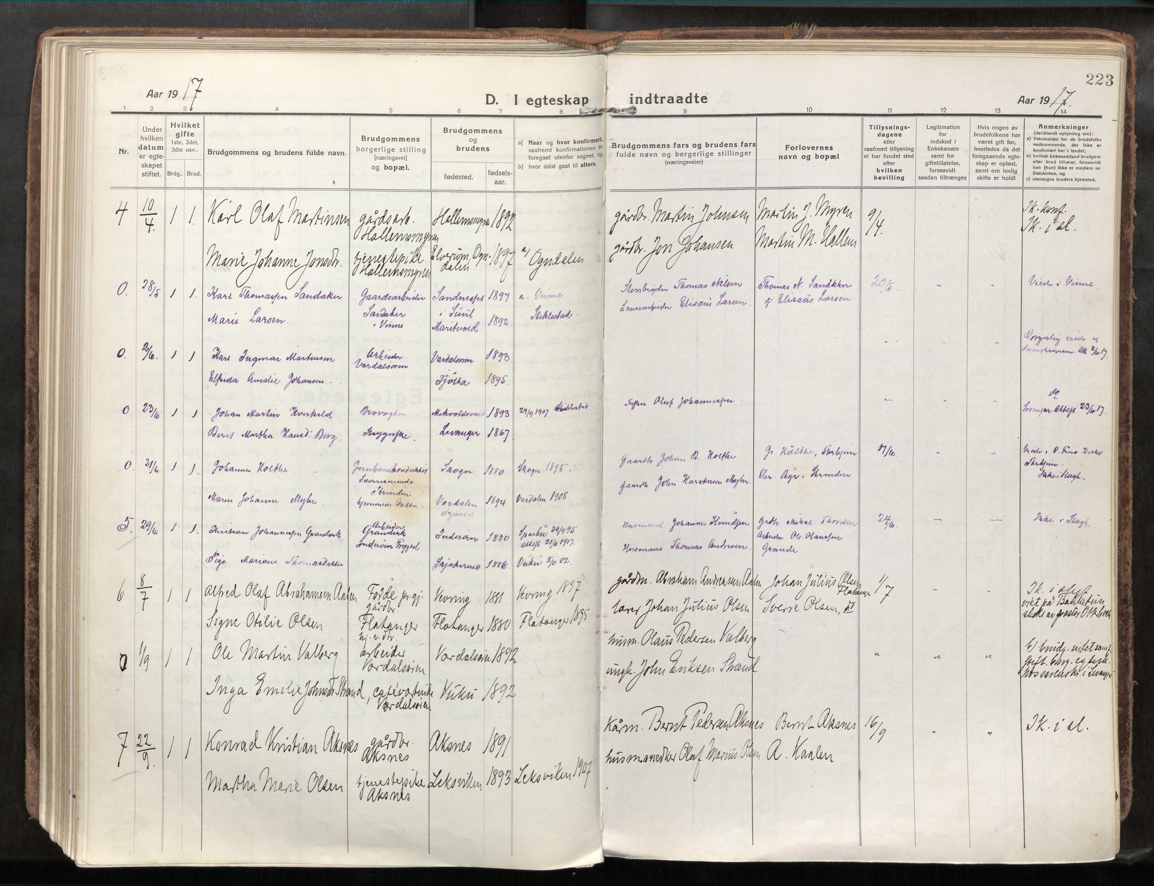 SAT, Verdal sokneprestkontor*, Parish register (official) no. 1, 1917-1932, p. 223