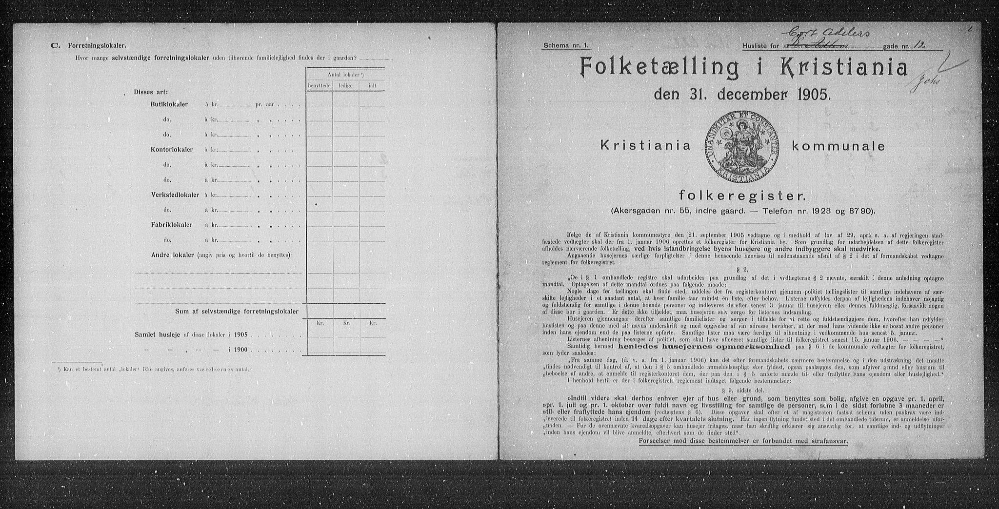 OBA, Municipal Census 1905 for Kristiania, 1905, p. 7067