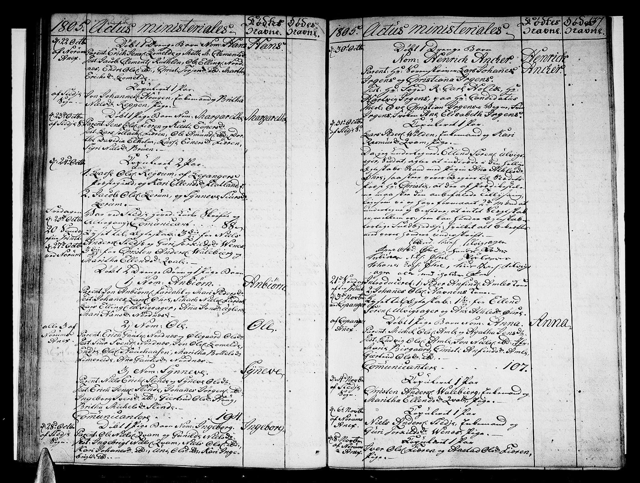 SAB, Sogndal sokneprestembete, H/Haa/Haaa/L0008: Parish register (official) no. A 8, 1795-1809, p. 137