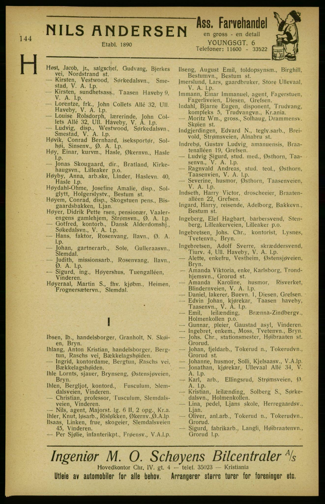 RA, Aker adressebok/adressekalender (publikasjon)*, 1922, p. 144
