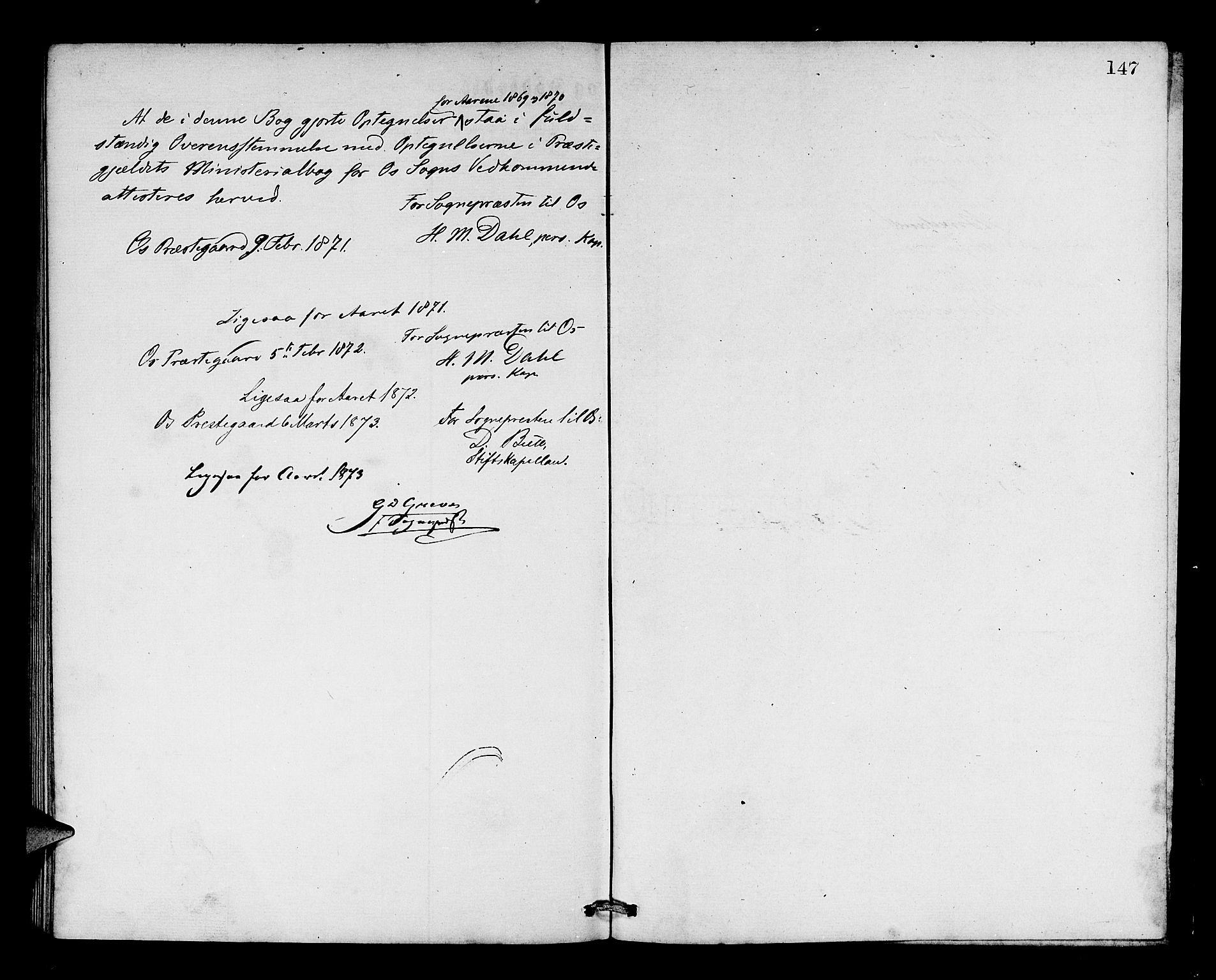 SAB, Os sokneprestembete*, Parish register (copy) no. A 1, 1869-1879, p. 147