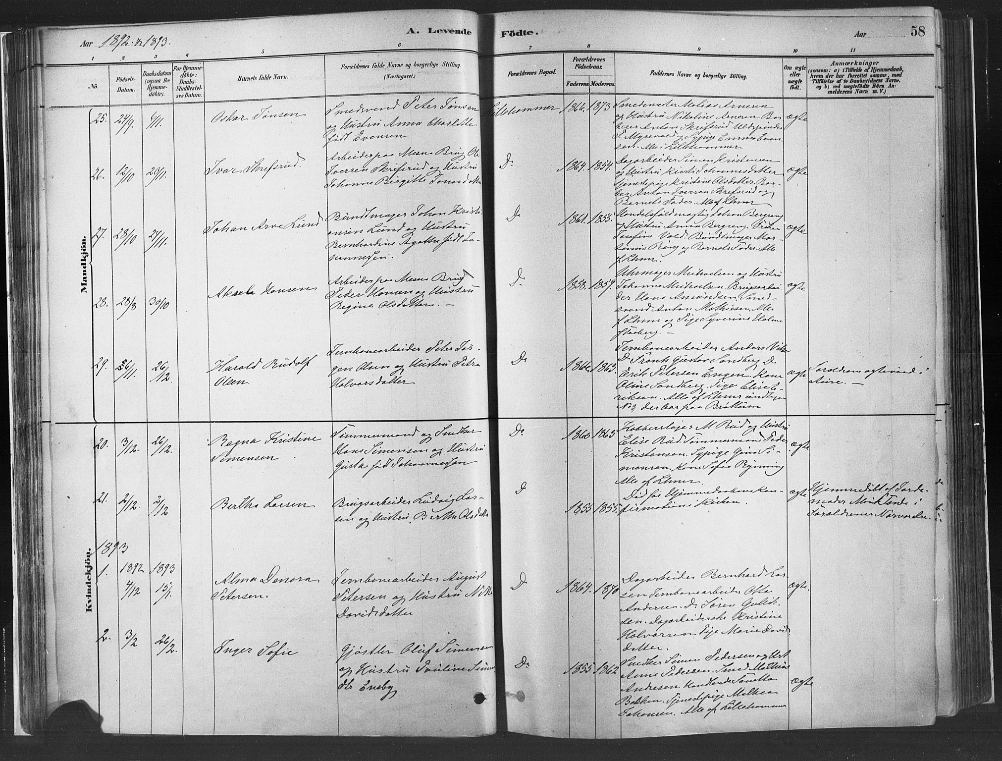 SAH, Fåberg prestekontor, H/Ha/Haa/L0010: Parish register (official) no. 10, 1879-1900, p. 58