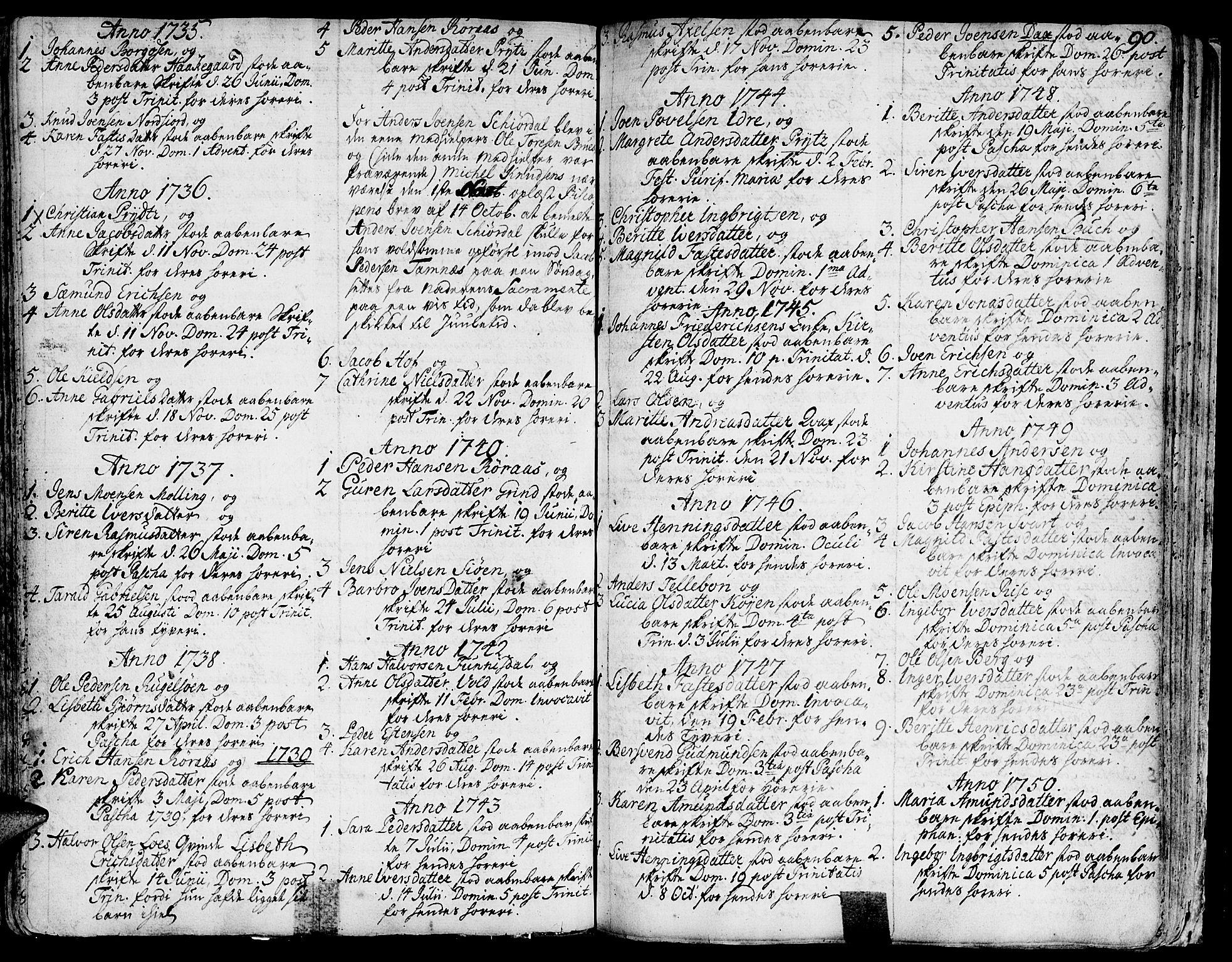 SAT, Ministerialprotokoller, klokkerbøker og fødselsregistre - Sør-Trøndelag, 681/L0925: Parish register (official) no. 681A03, 1727-1766, p. 90
