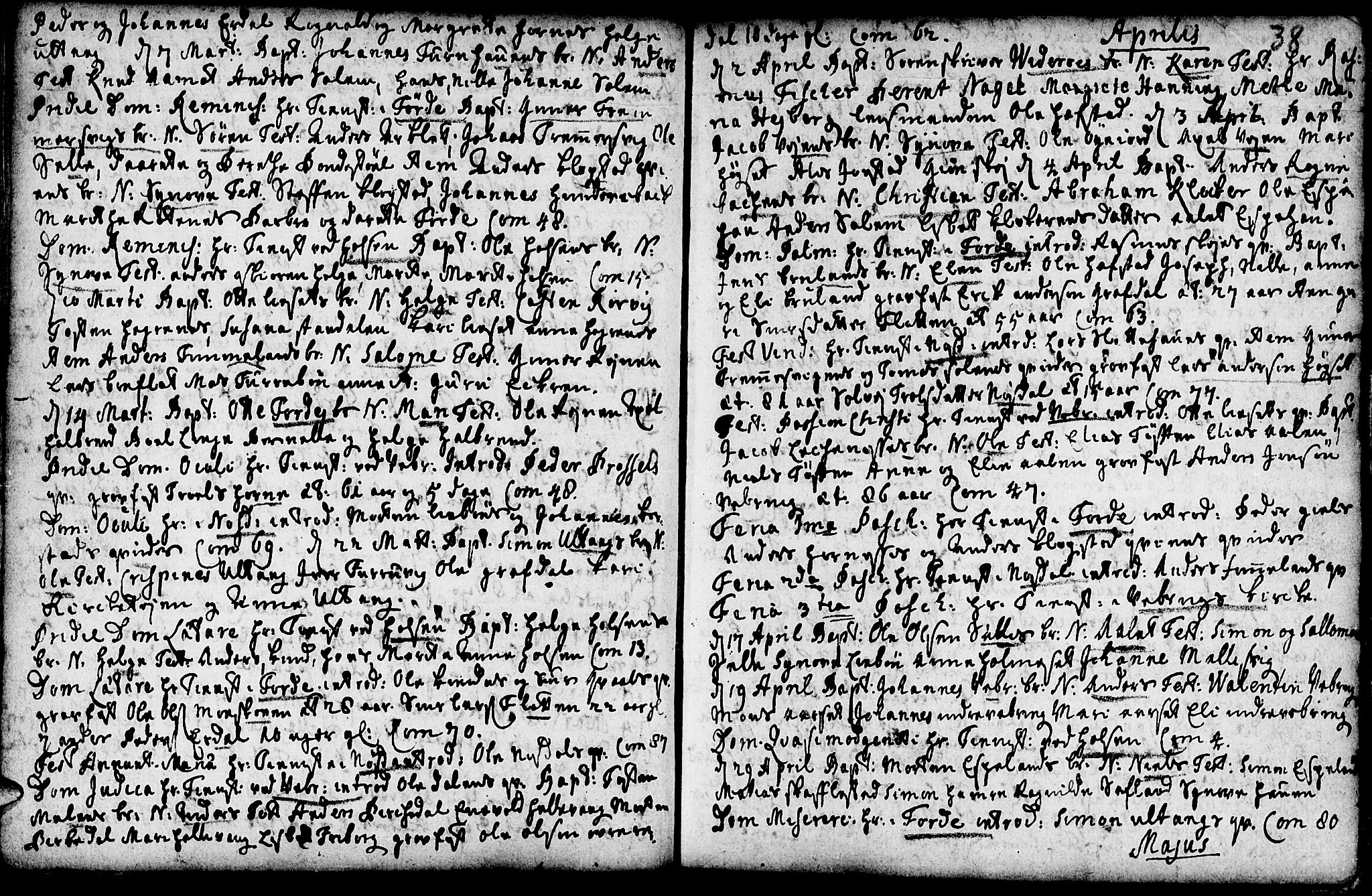SAB, Førde sokneprestembete, H/Haa: Parish register (official) no. A 2, 1728-1748, p. 38