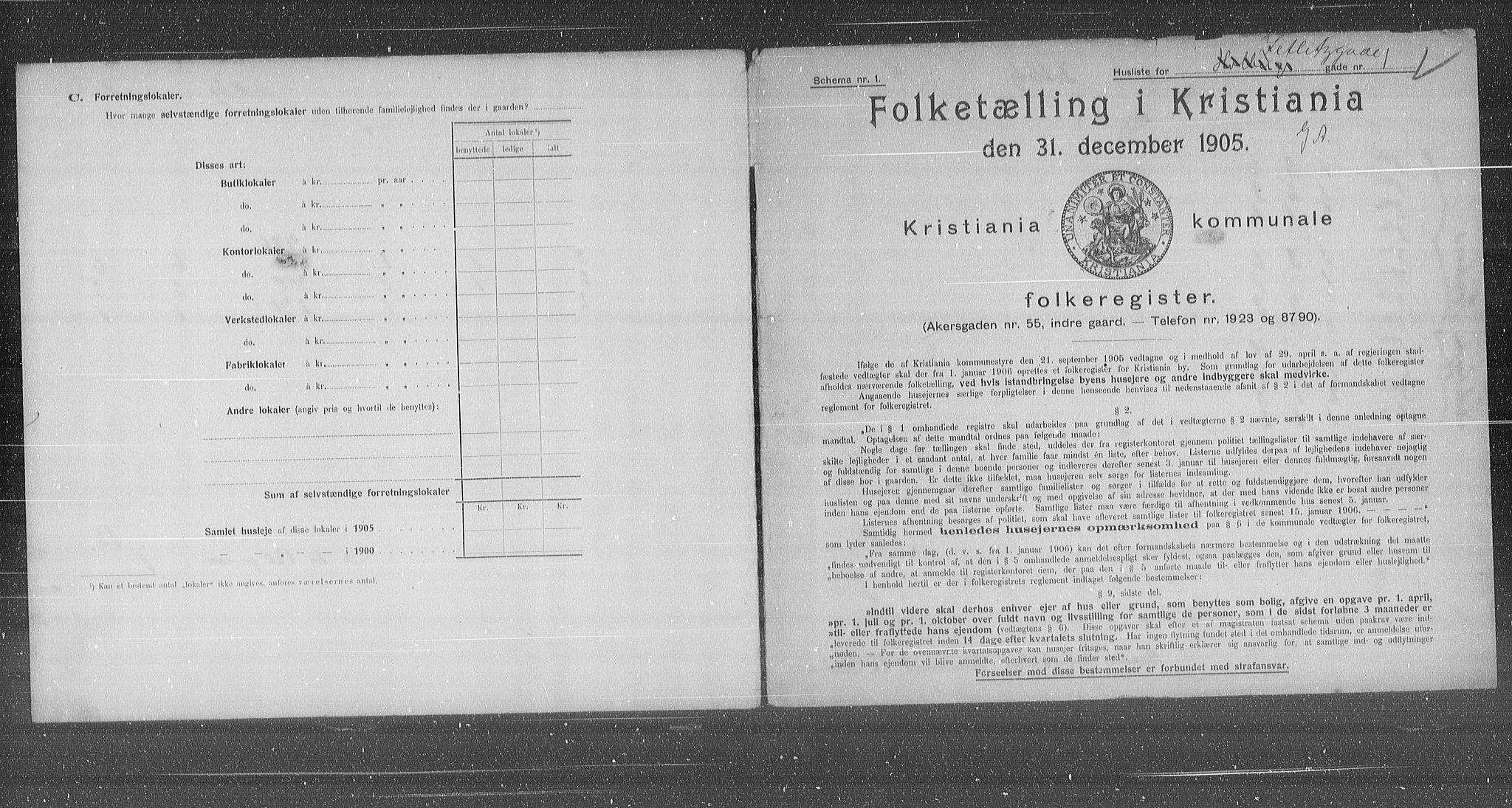 OBA, Municipal Census 1905 for Kristiania, 1905, p. 67617