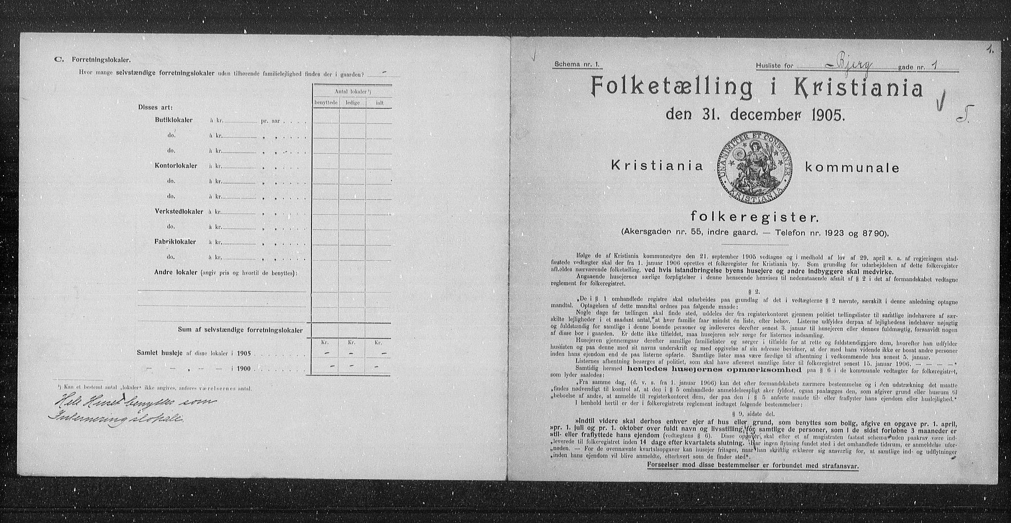 OBA, Municipal Census 1905 for Kristiania, 1905, p. 2620