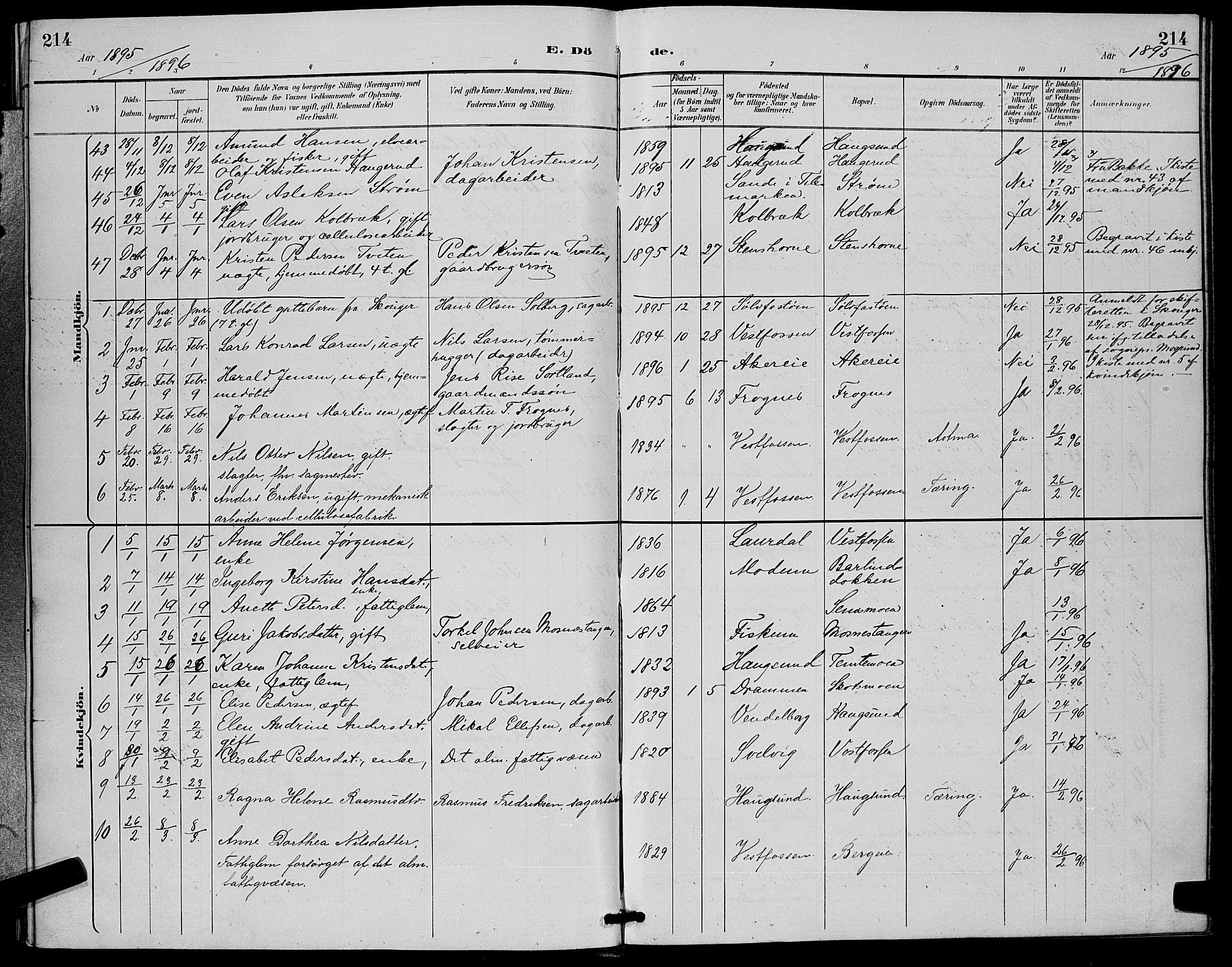 SAKO, Eiker kirkebøker, G/Ga/L0007: Parish register (copy) no. I 7, 1893-1902, p. 214